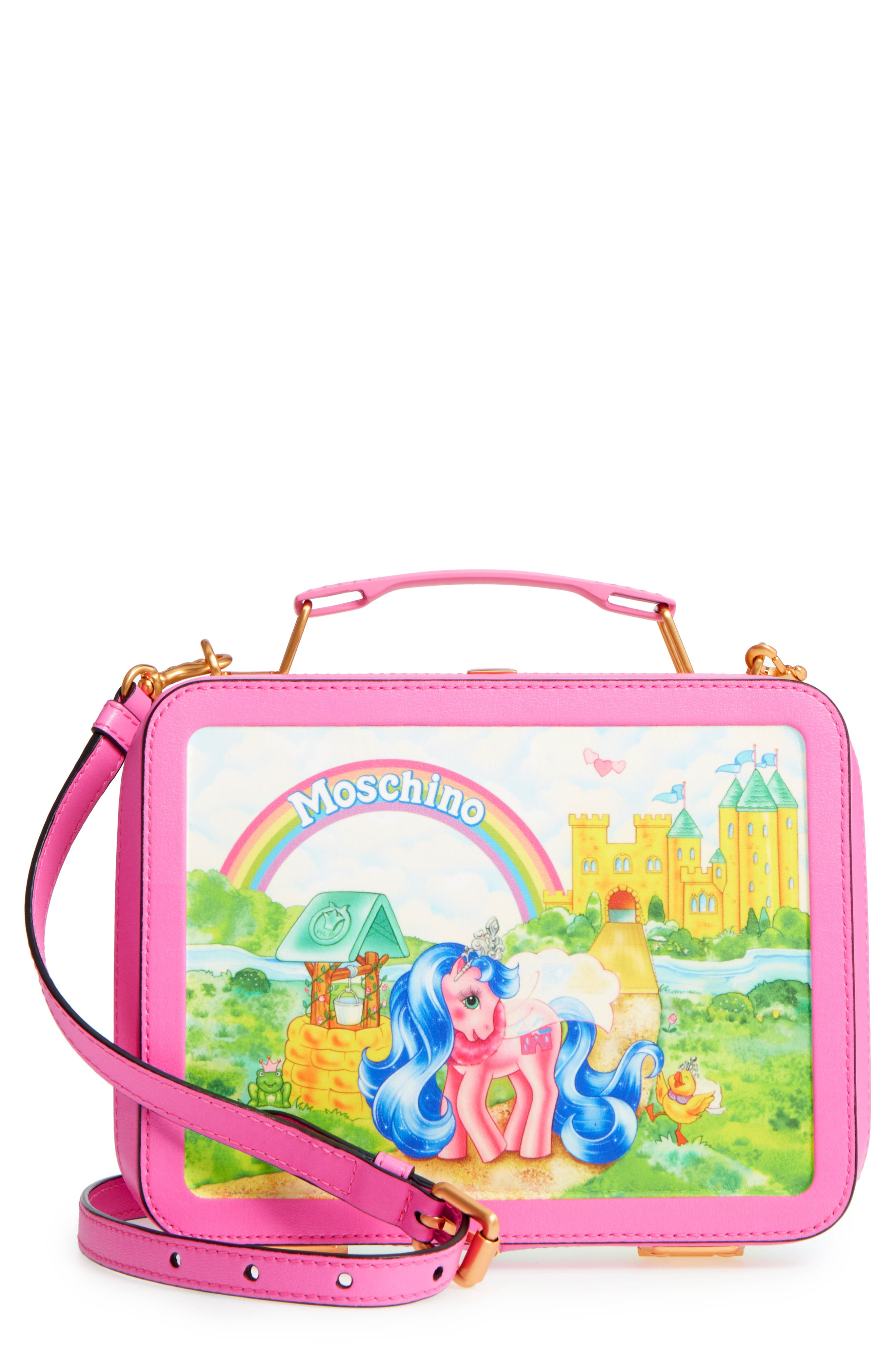 moschino x my little pony leather lunch box pink. Black Bedroom Furniture Sets. Home Design Ideas