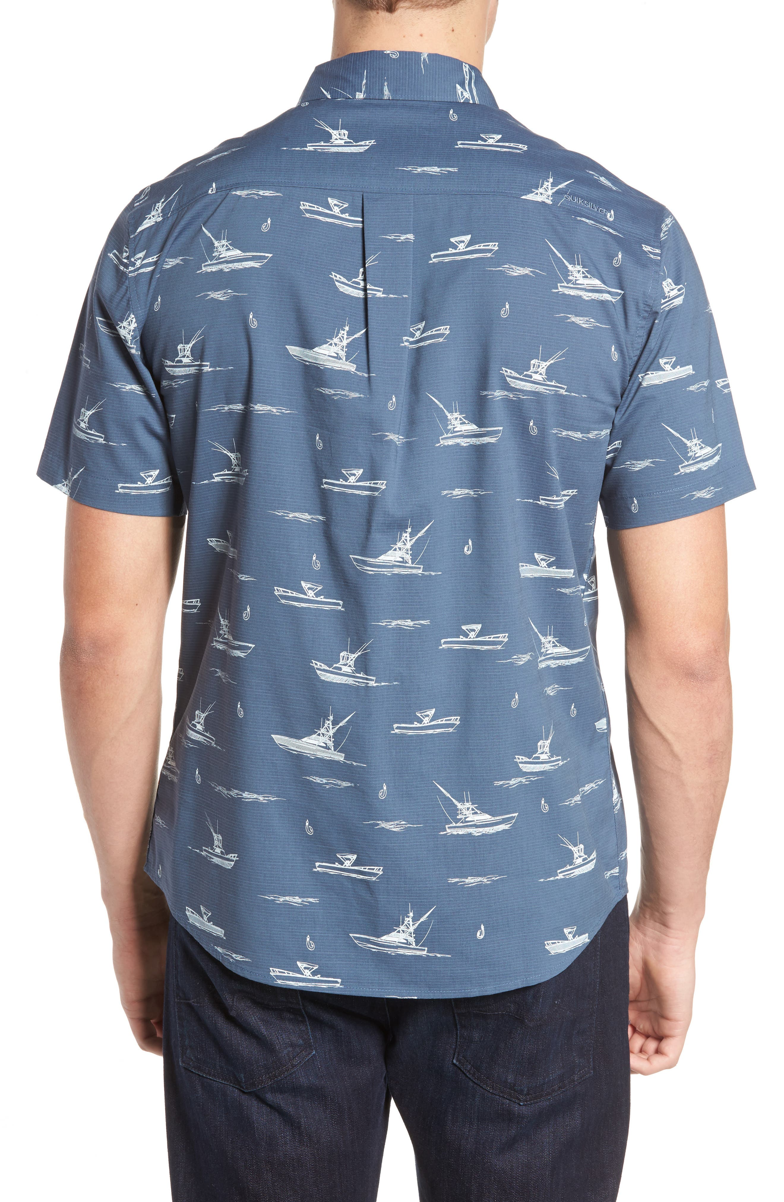 Fishboats Sport Shirt,                             Alternate thumbnail 2, color,                             Ensign Blue