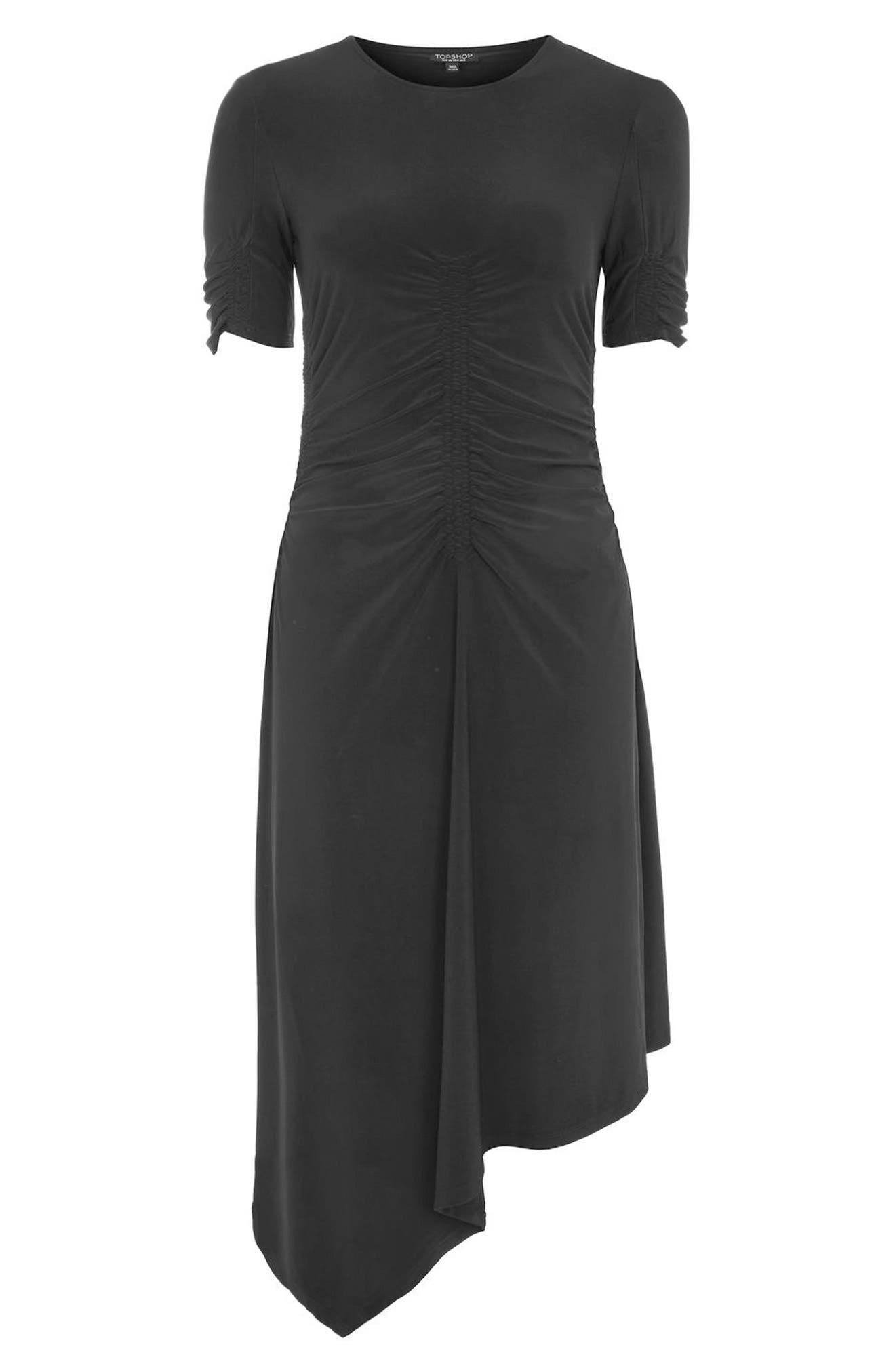 Ruched Asymmetrical Dress,                             Alternate thumbnail 4, color,                             Black