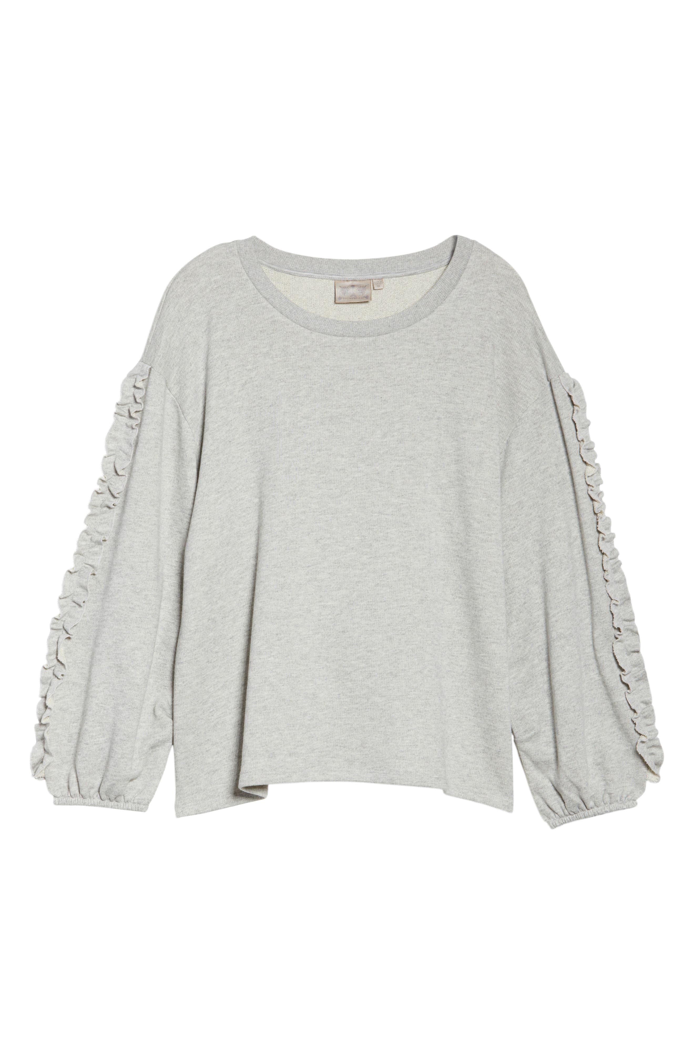 Ruffle Sleeve Sweatshirt,                             Alternate thumbnail 6, color,                             Grey Heather