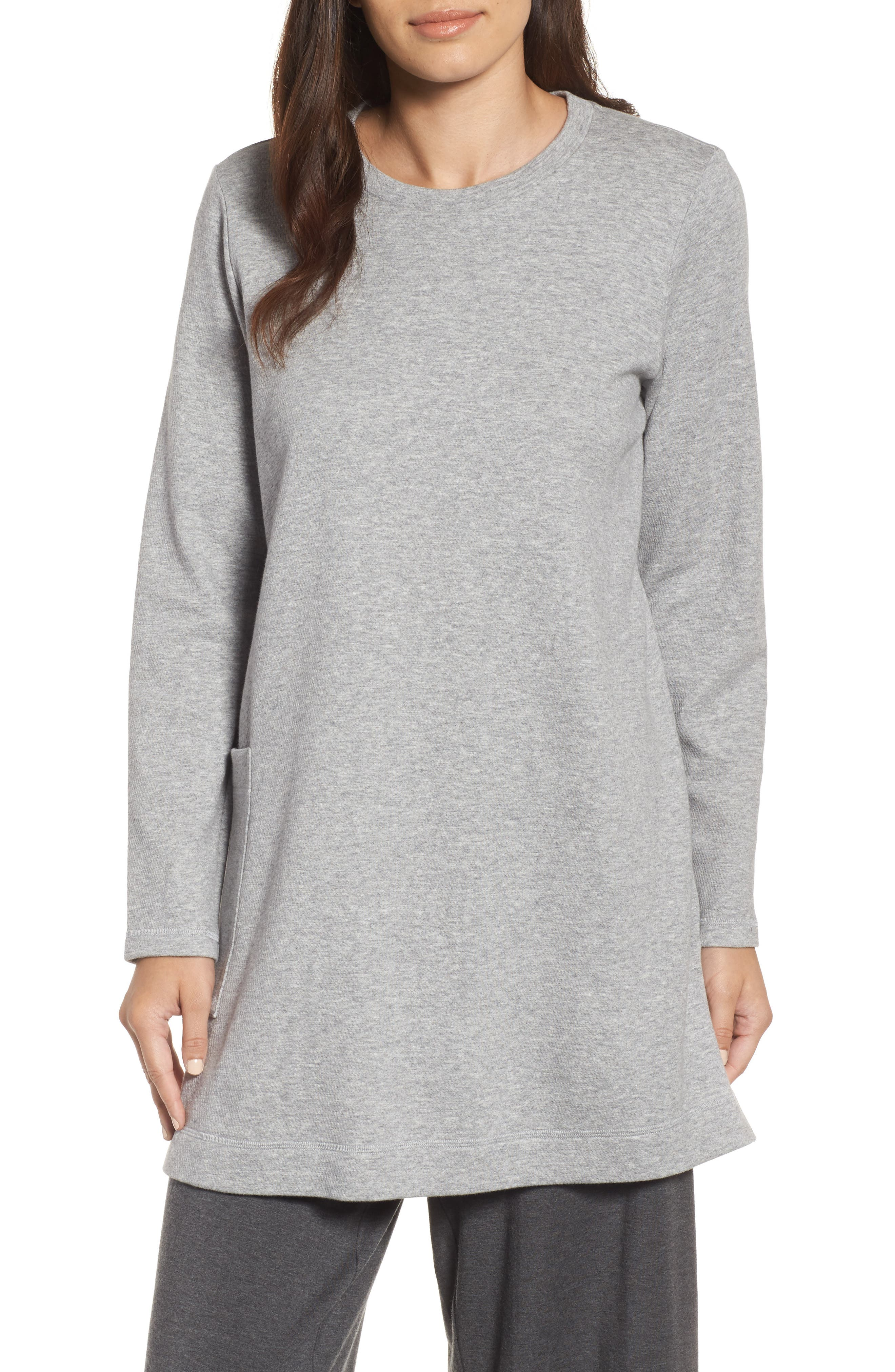 Double Knit Organic Cotton Tunic,                             Main thumbnail 1, color,                             Dark Pearl
