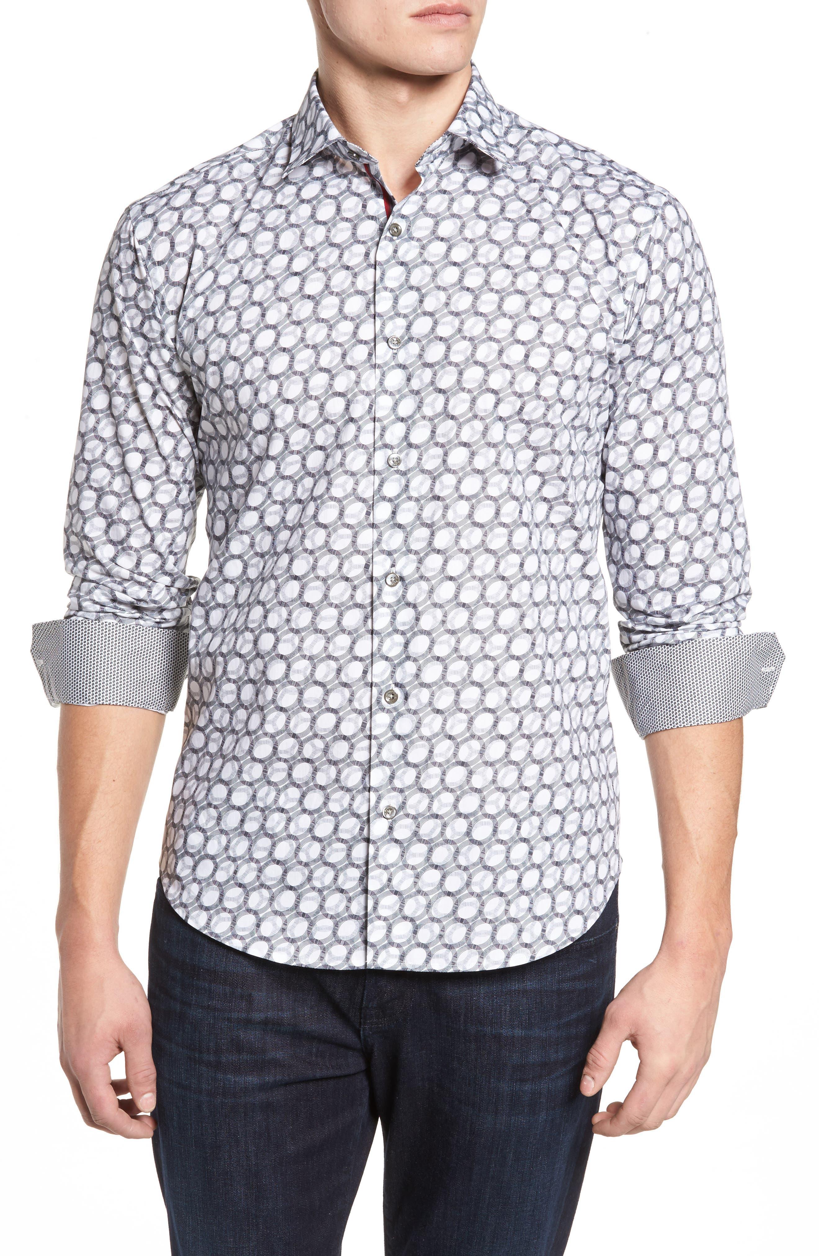 Shaped Fit Optic Print Sport Shirt,                         Main,                         color, White