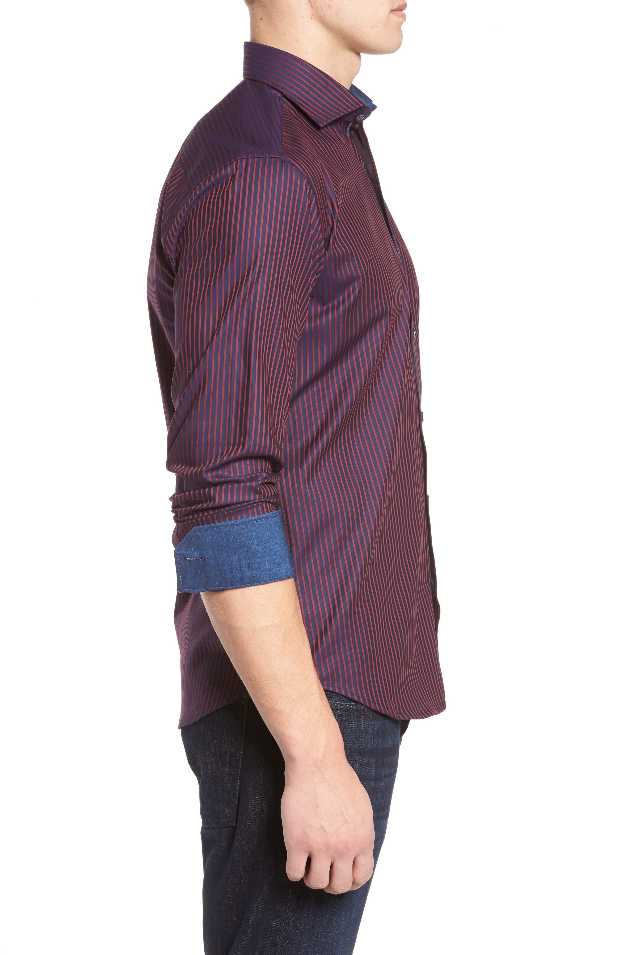 Shaped Fit Stripe Sport Shirt,                             Alternate thumbnail 3, color,                             Wine
