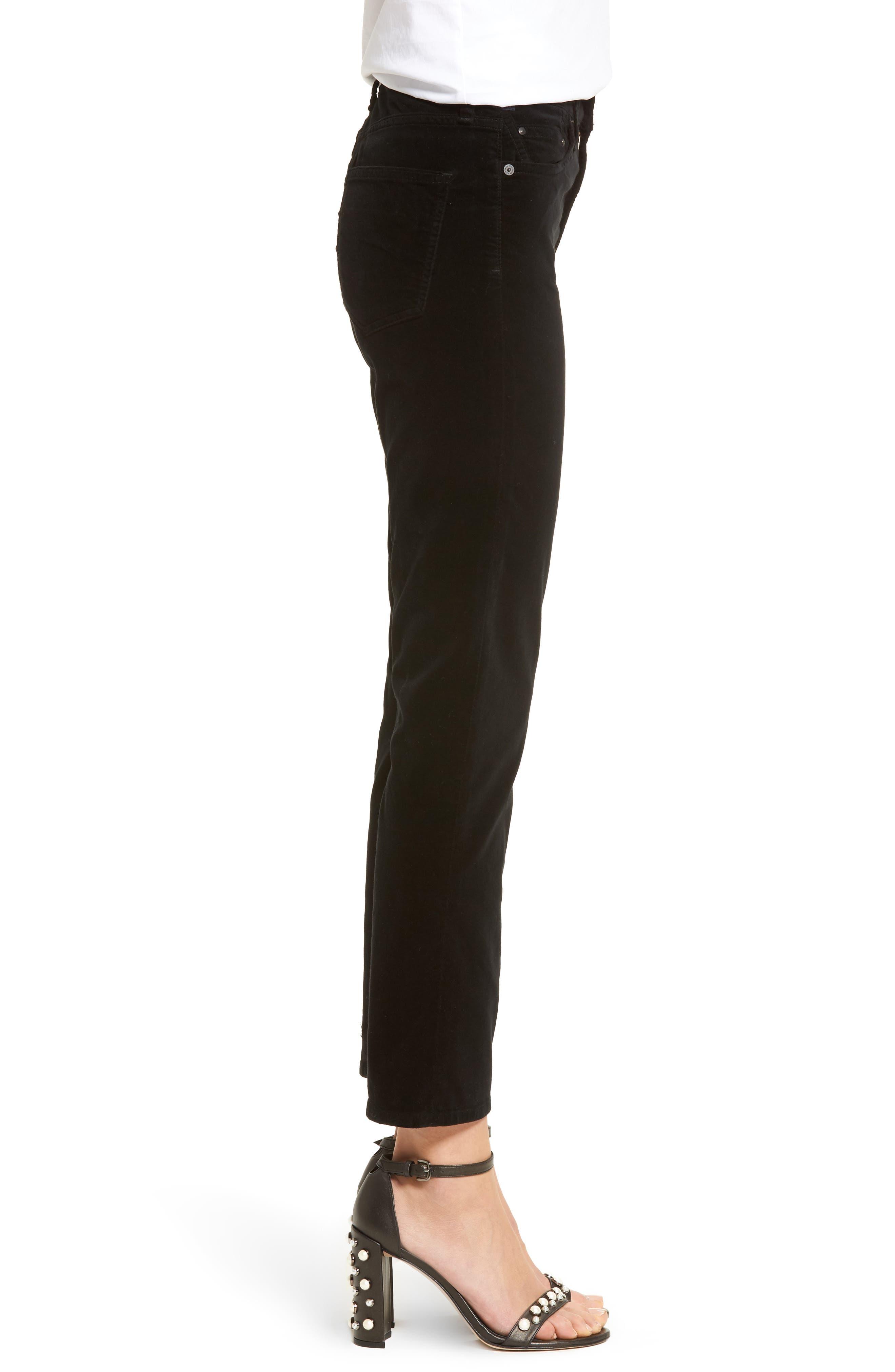 Cara High Waist Ankle Cigarette Velvet Pants,                             Alternate thumbnail 3, color,                             Black Currant Velvet