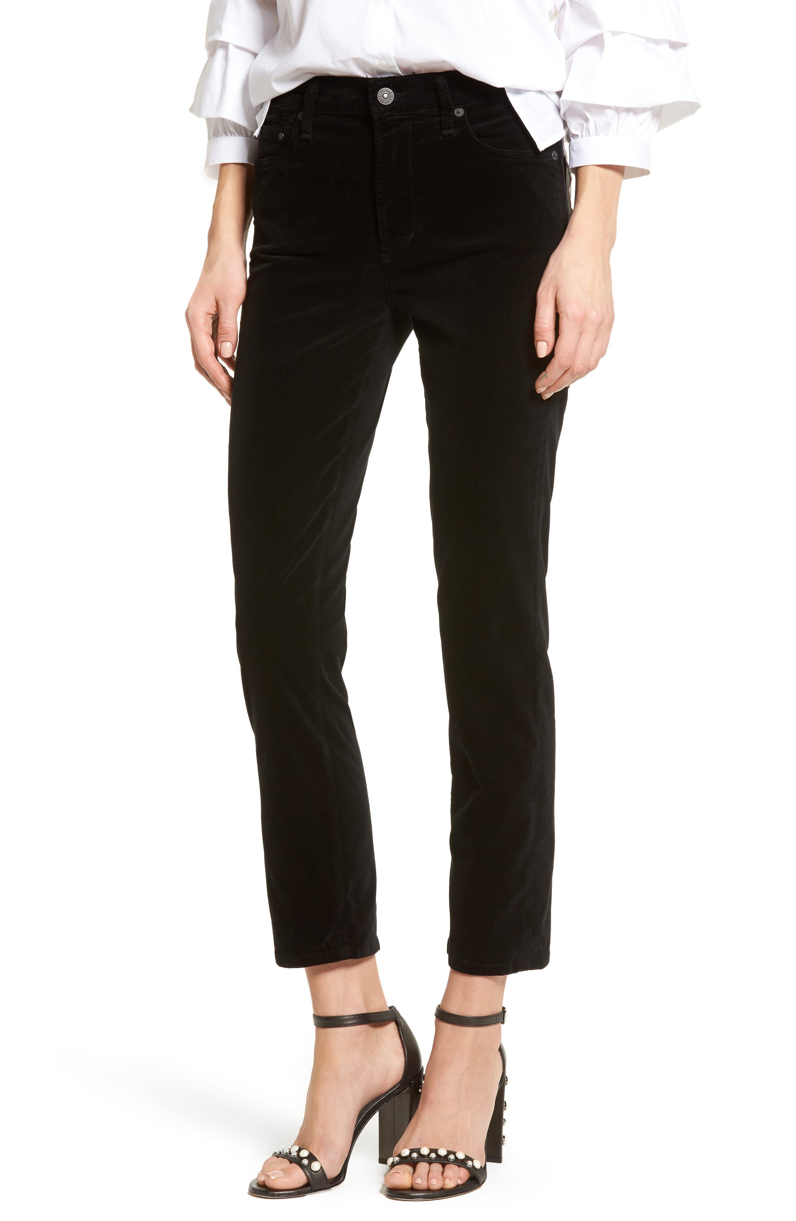Cara High Waist Ankle Cigarette Velvet Pants,                             Main thumbnail 1, color,                             Black Currant Velvet