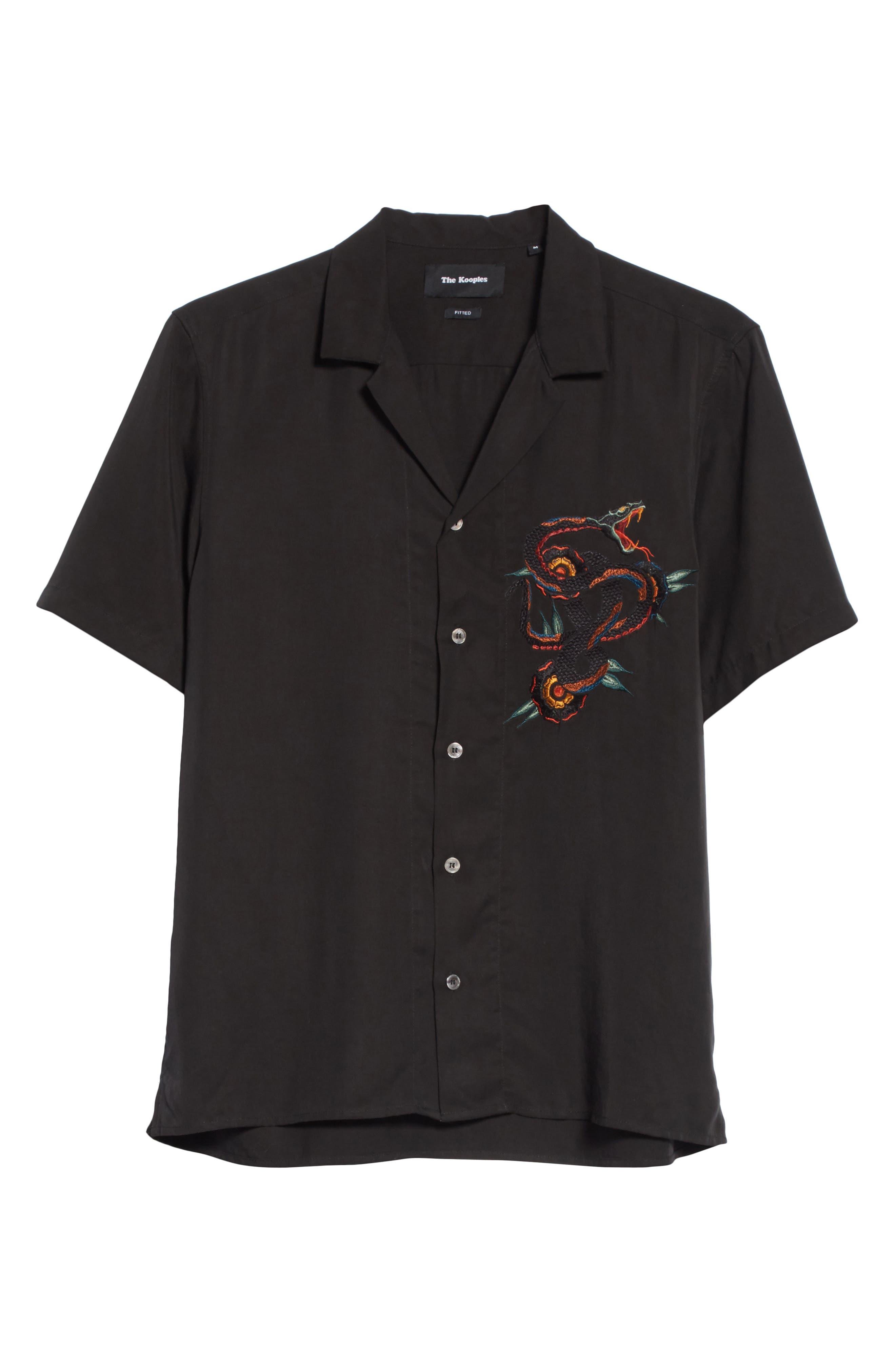 Embroidered Snake Camp Shirt,                             Alternate thumbnail 6, color,                             Black