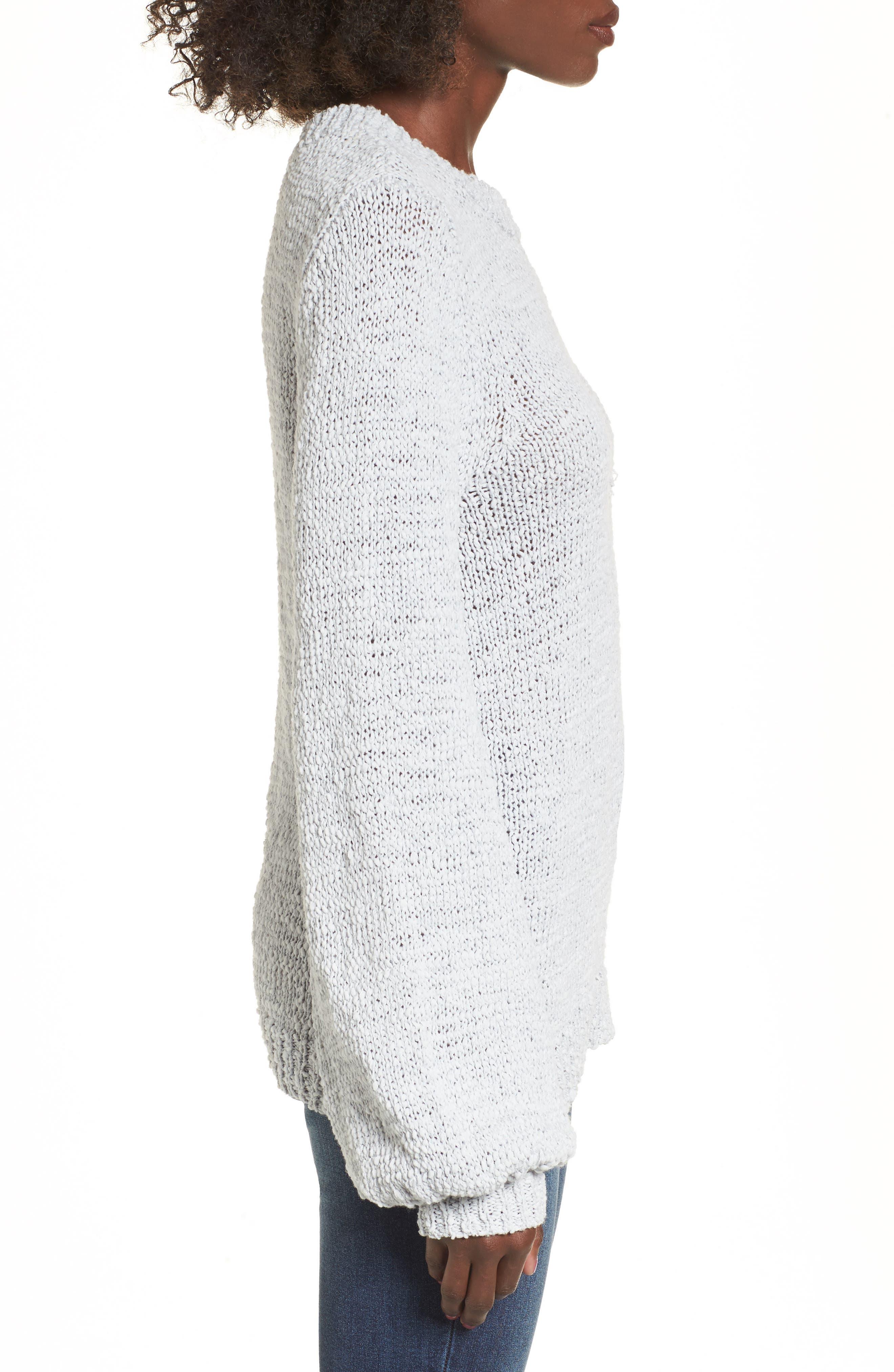 Blouson Sleeve Tape Yarn Sweater,                             Alternate thumbnail 3, color,                             Blue Pearl