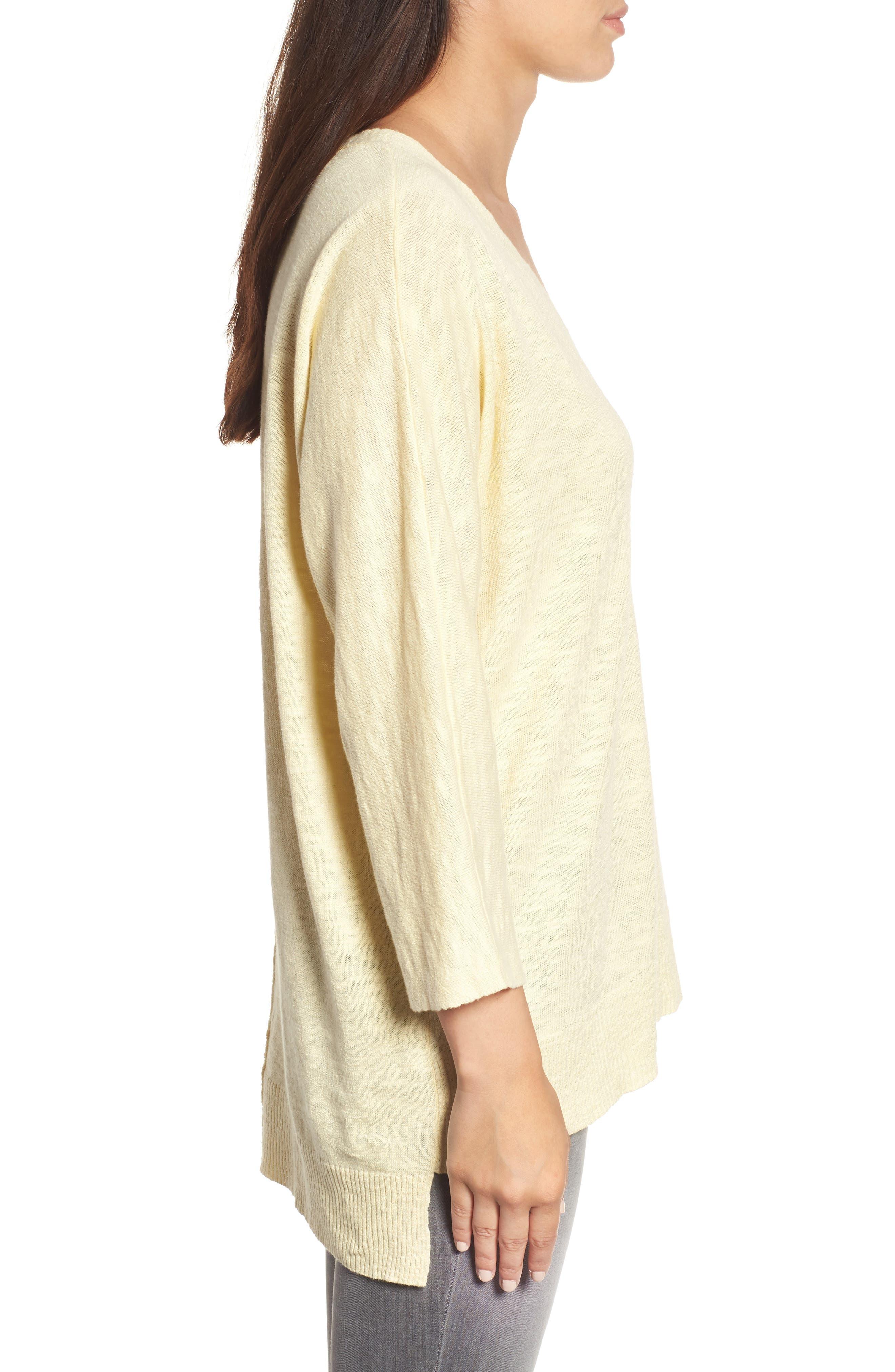 Organic Linen & Cotton Sweater,                             Alternate thumbnail 3, color,                             Flaxen