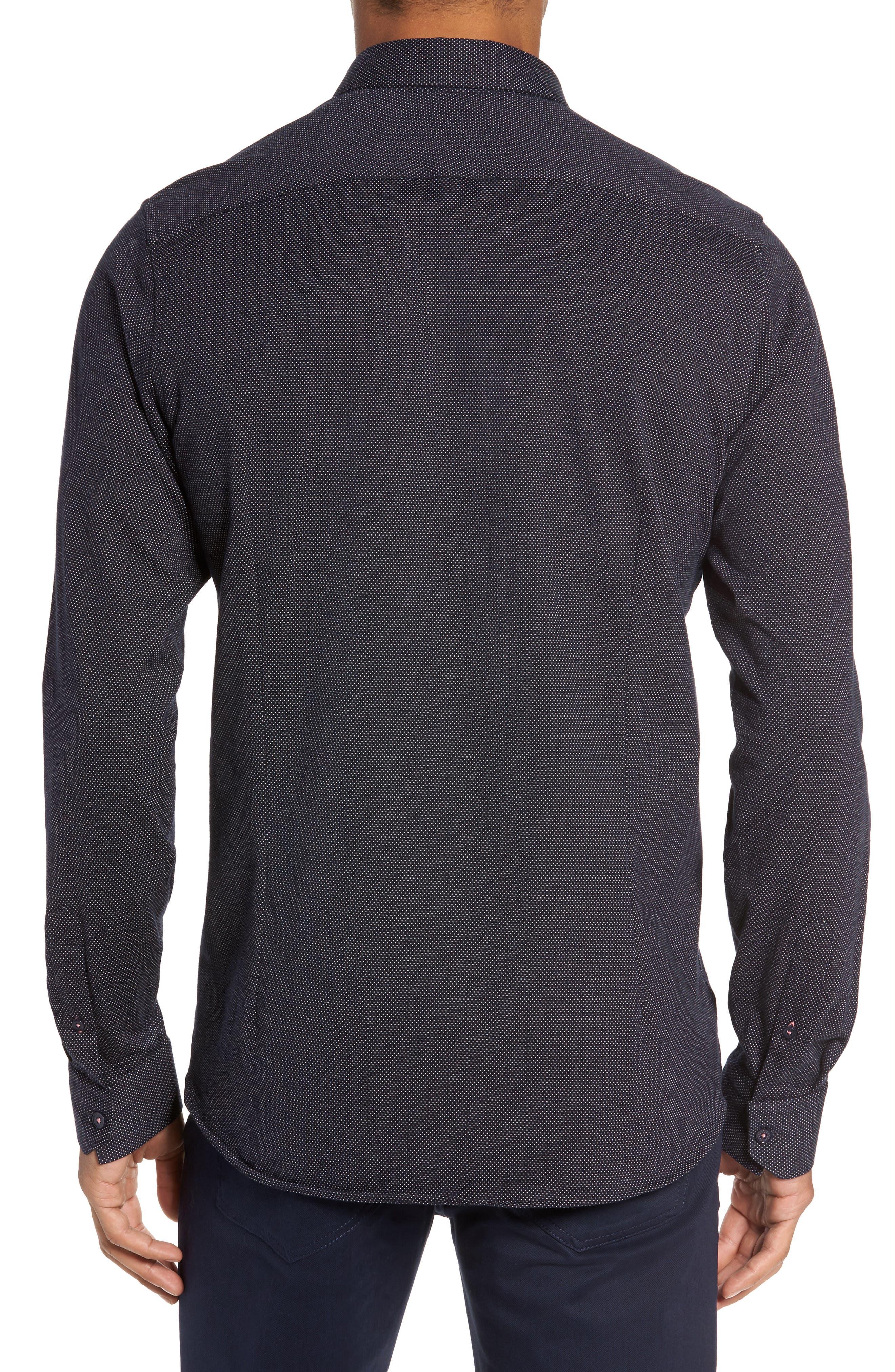 Slim Fit Microdot Sport Shirt,                             Alternate thumbnail 2, color,                             Navy