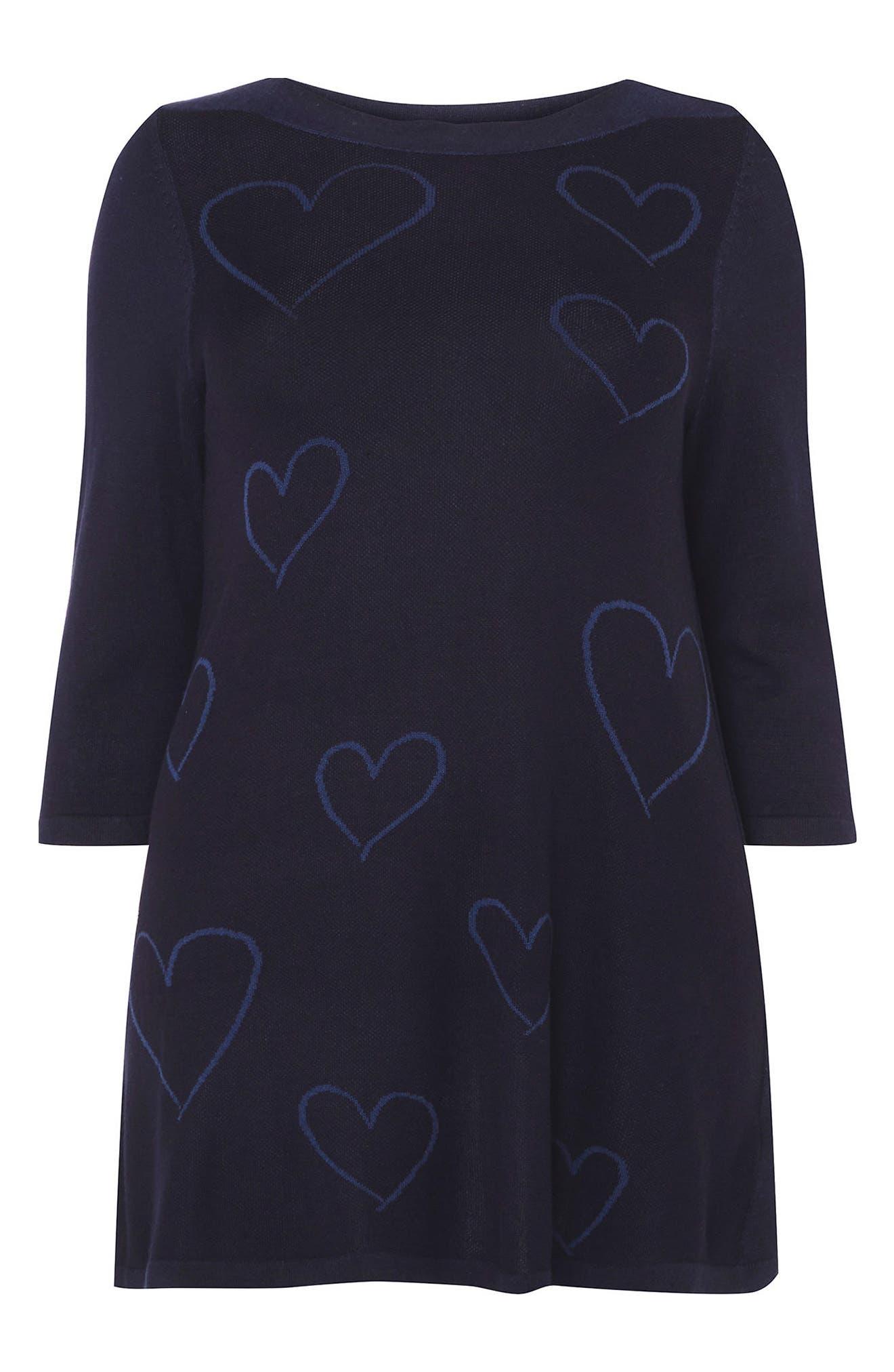Heart Three Quarter Sleeve Tunic,                             Alternate thumbnail 4, color,                             Navy