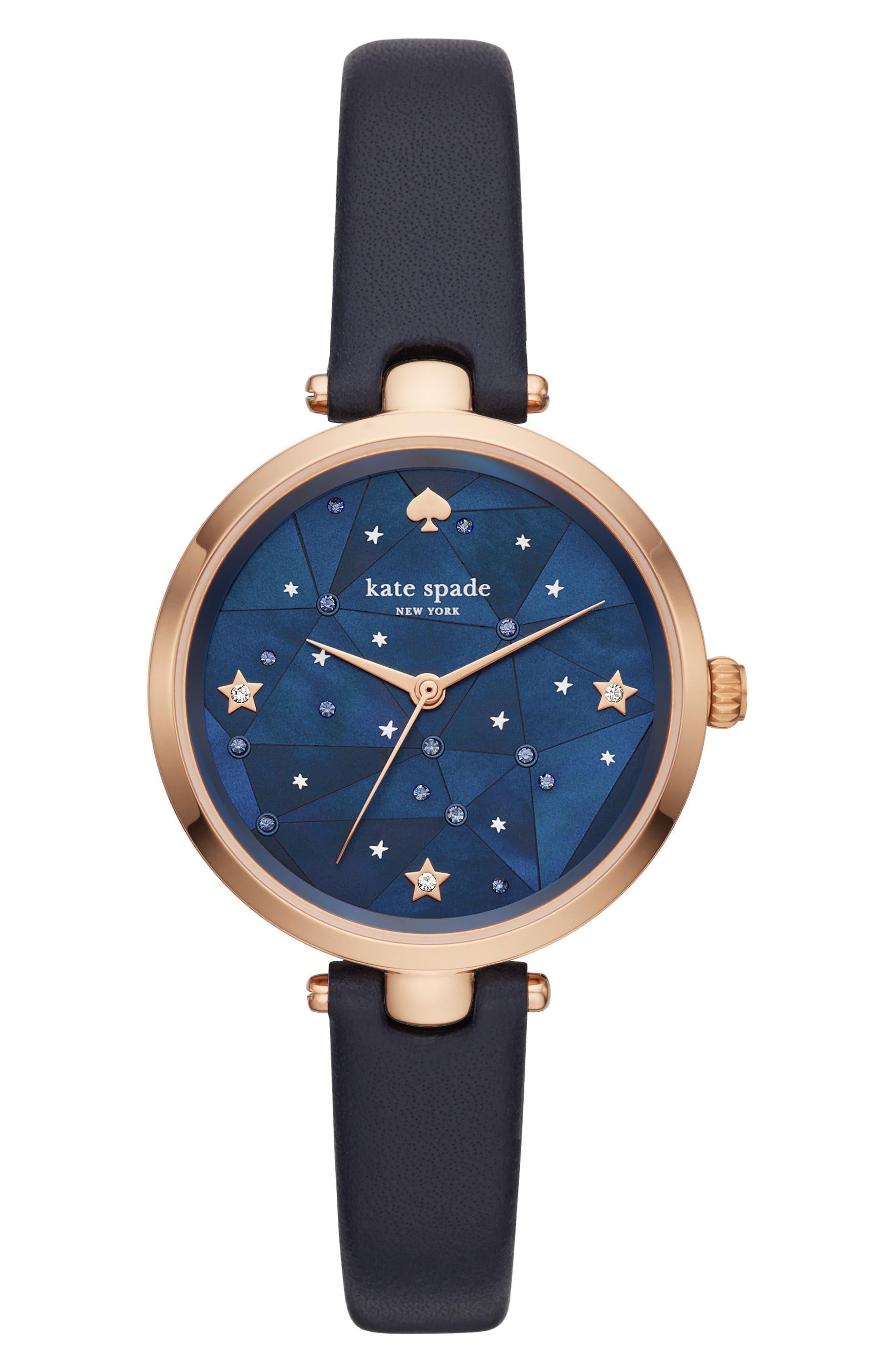 holland constellation leather strap watch, 34mm,                         Main,                         color, Blue/ Rose Gold
