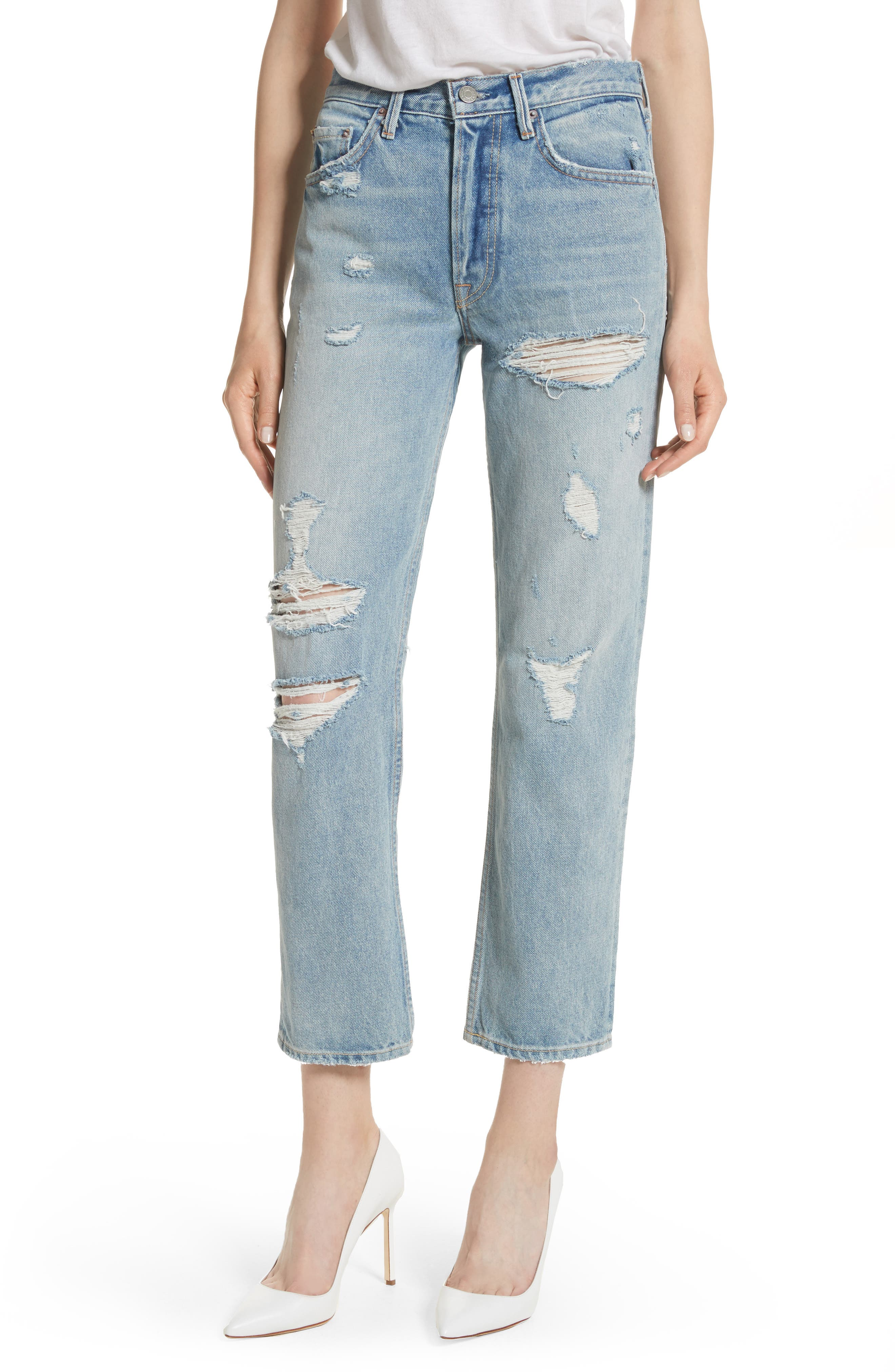 Main Image - GRLFRND Helena Ripped Rigid High Waist Straight Jeans (Reese)