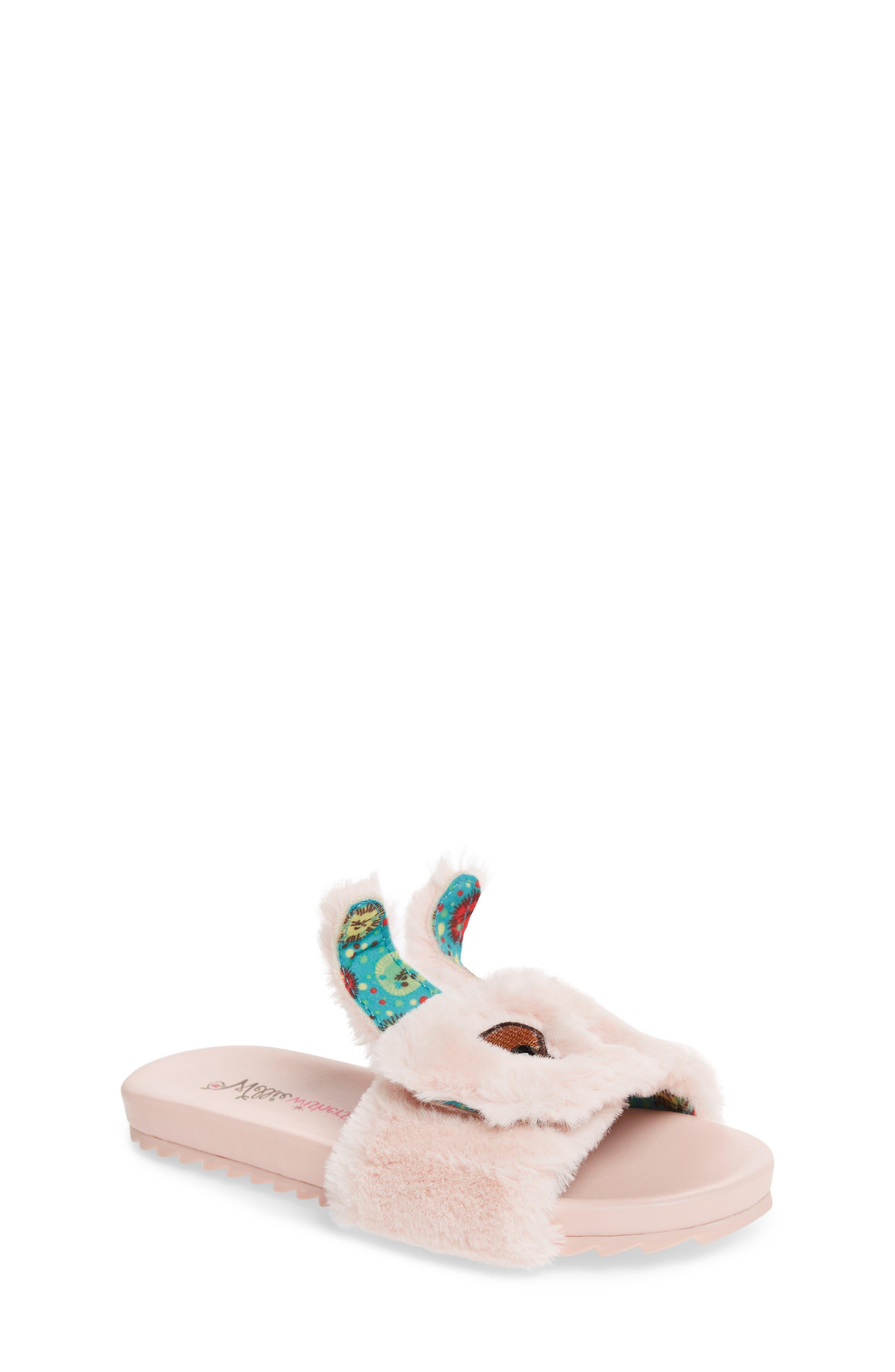 Willa Carrot Faux Fur Slide Sandal,                             Alternate thumbnail 4, color,                             Pink
