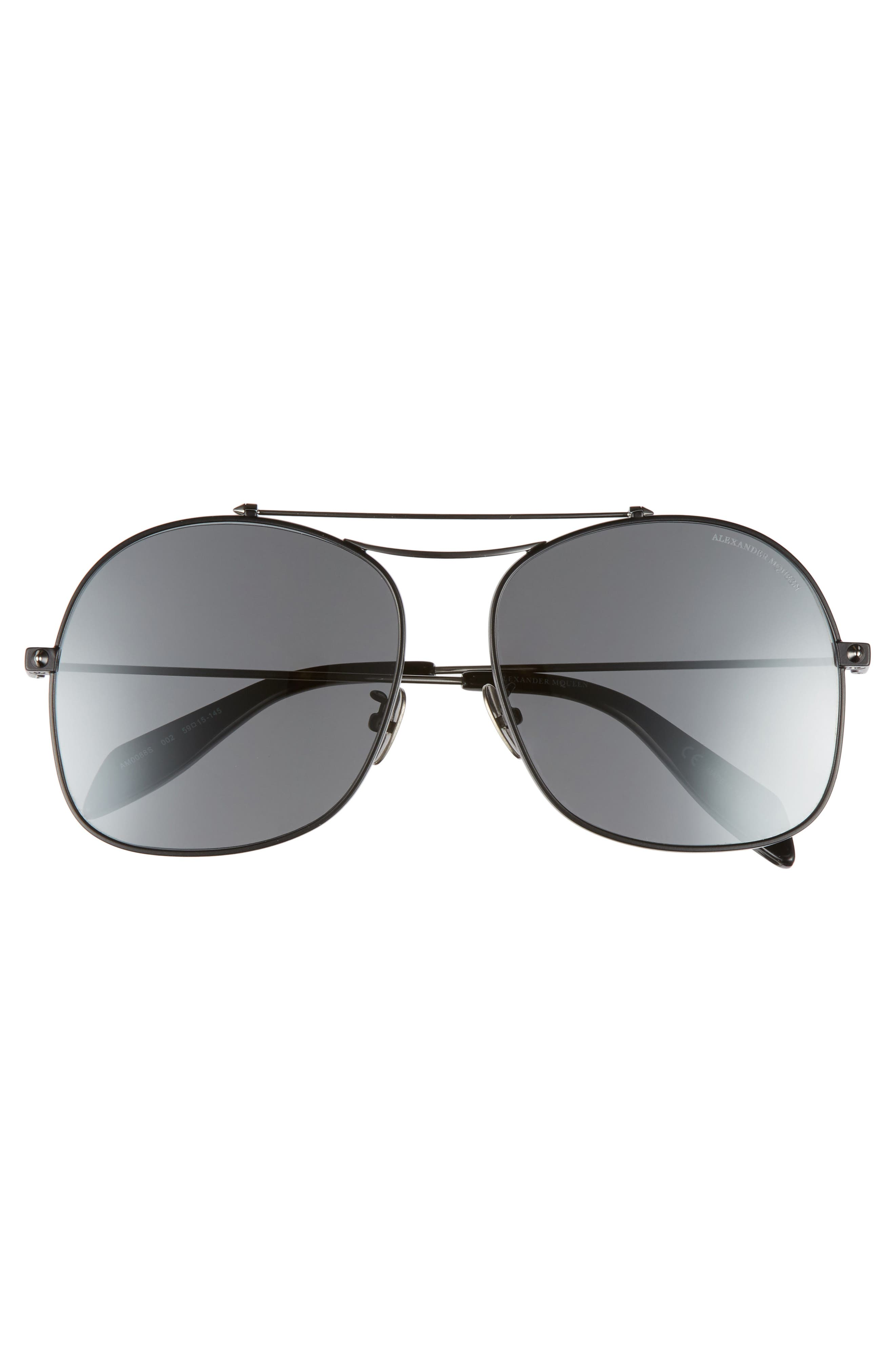 59mm Aviator Sunglasses,                             Alternate thumbnail 3, color,                             Black