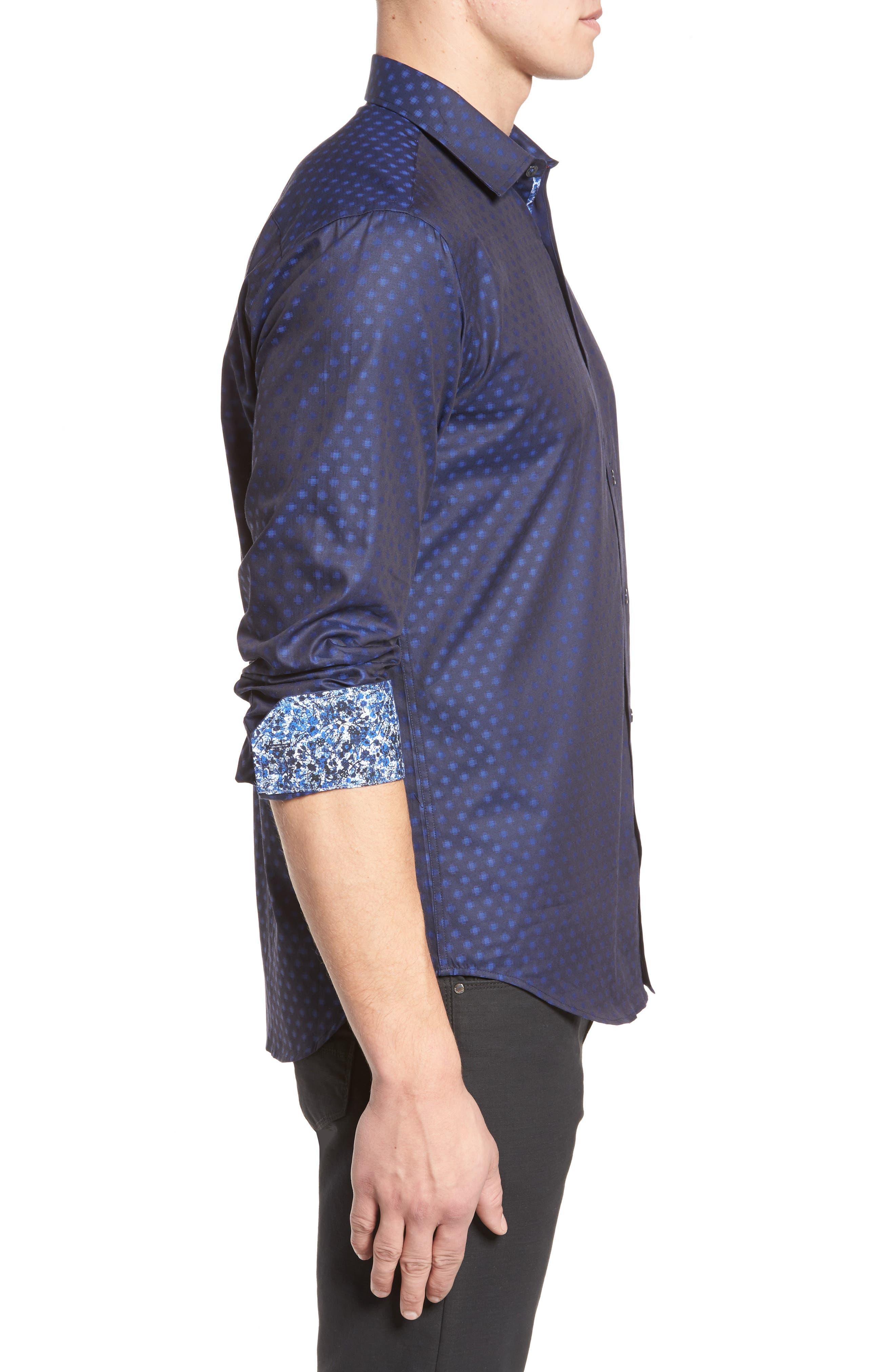 Alternate Image 3  - Bugatchi Shaped Fit Print Sport Shirt