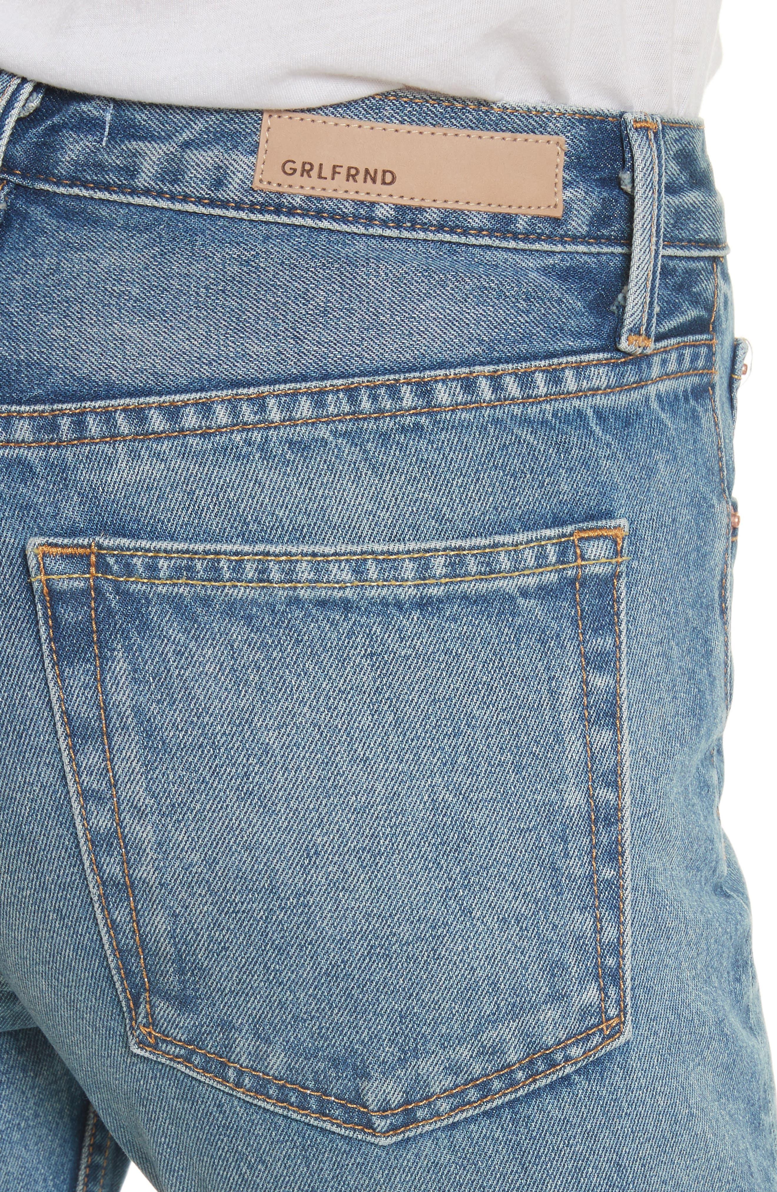 Alternate Image 5  - GRLFRND Karolina Faux Pearl & Crystal Embellished Rigid High Waist Skinny Jeans (Morning Star)