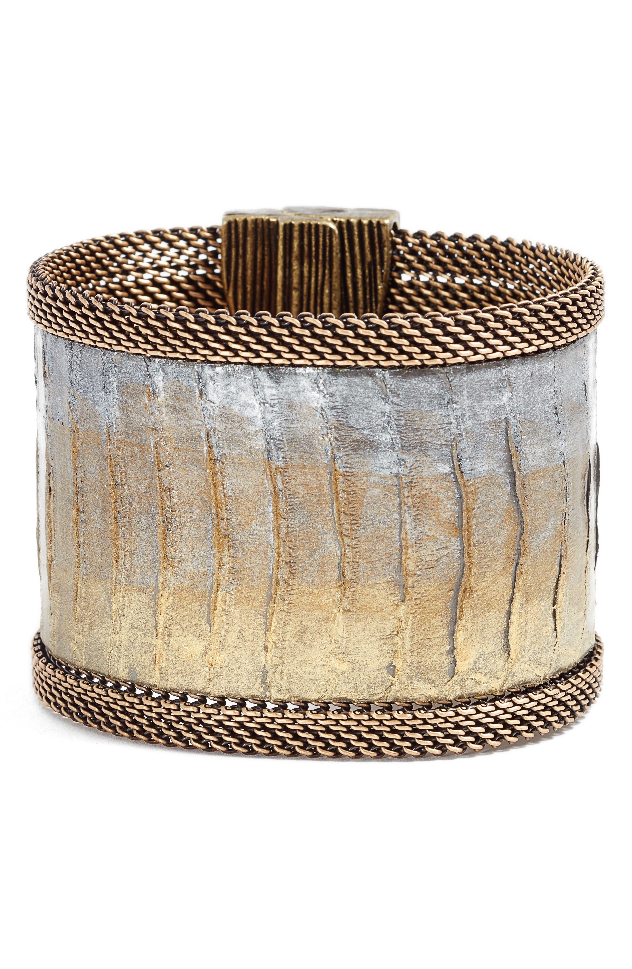 Snakeskin Bracelet,                             Main thumbnail 1, color,                             Gold/ Grey/ Bronze