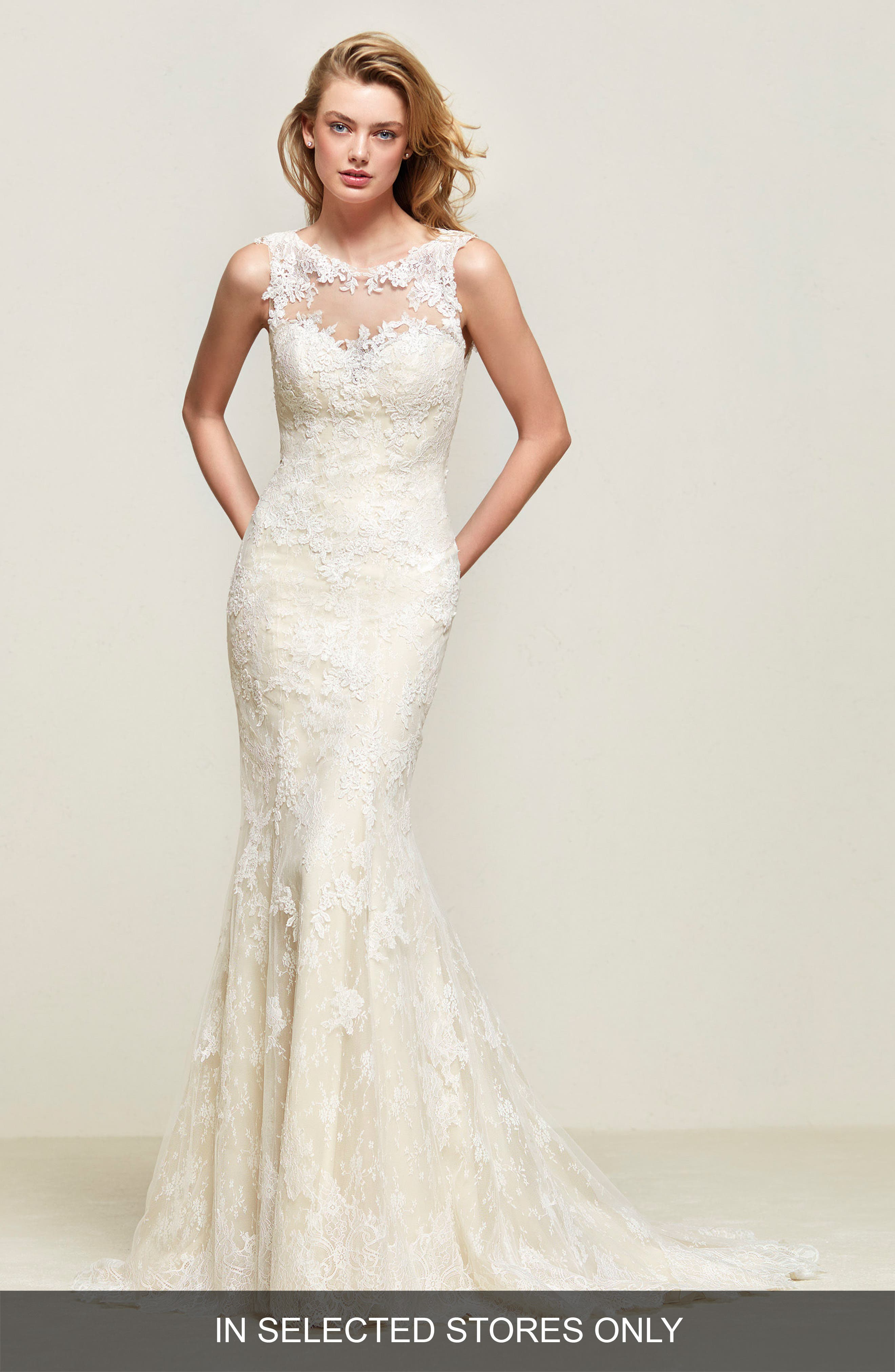 Driades Embellished Lace Mermaid Gown,                         Main,                         color, Off White
