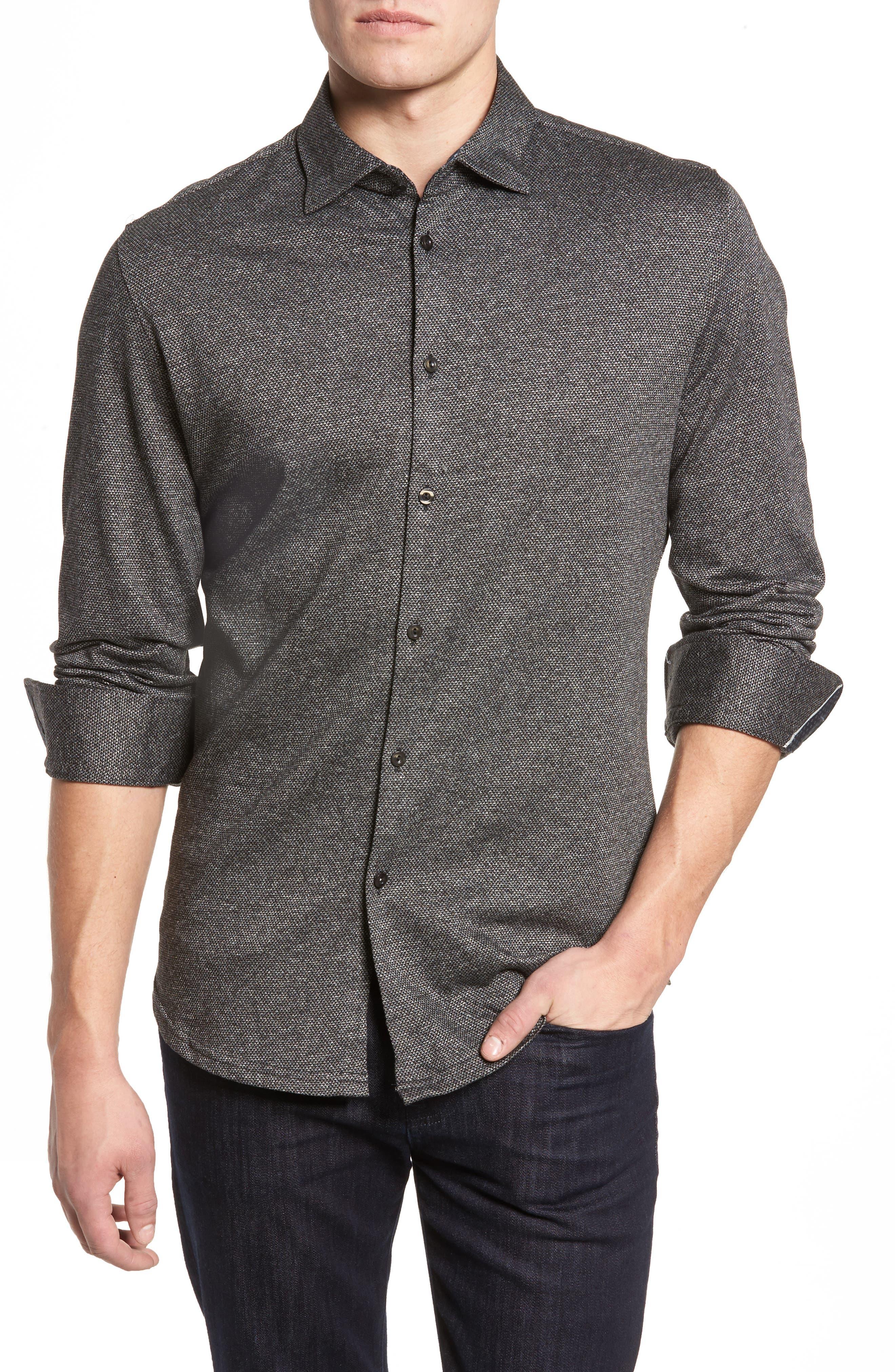 Stone Rose Slim Fit Diamond Jacquard Knit Sport Shirt