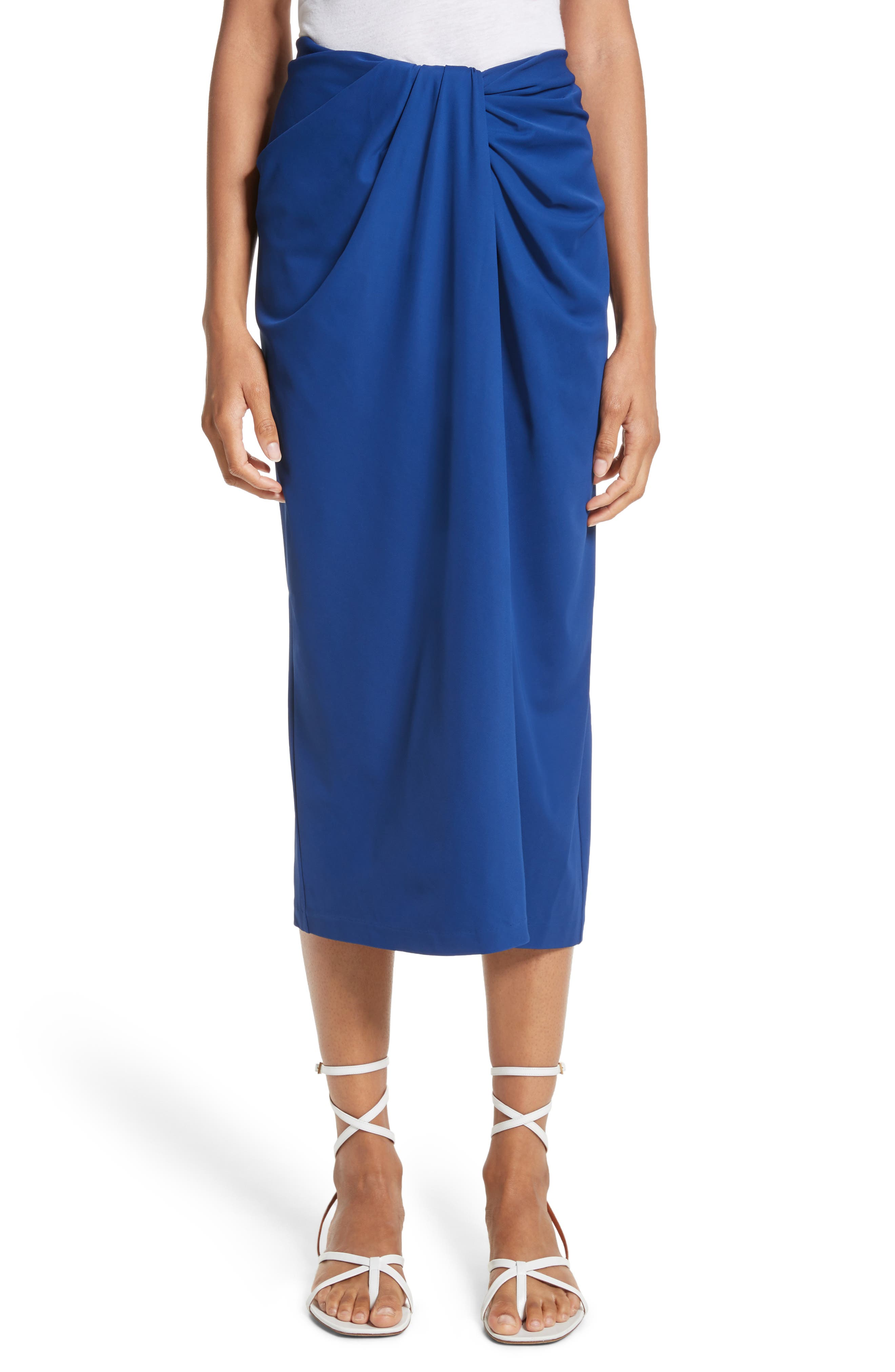 Rosetta Getty Jersey Twist Front Midi Skirt