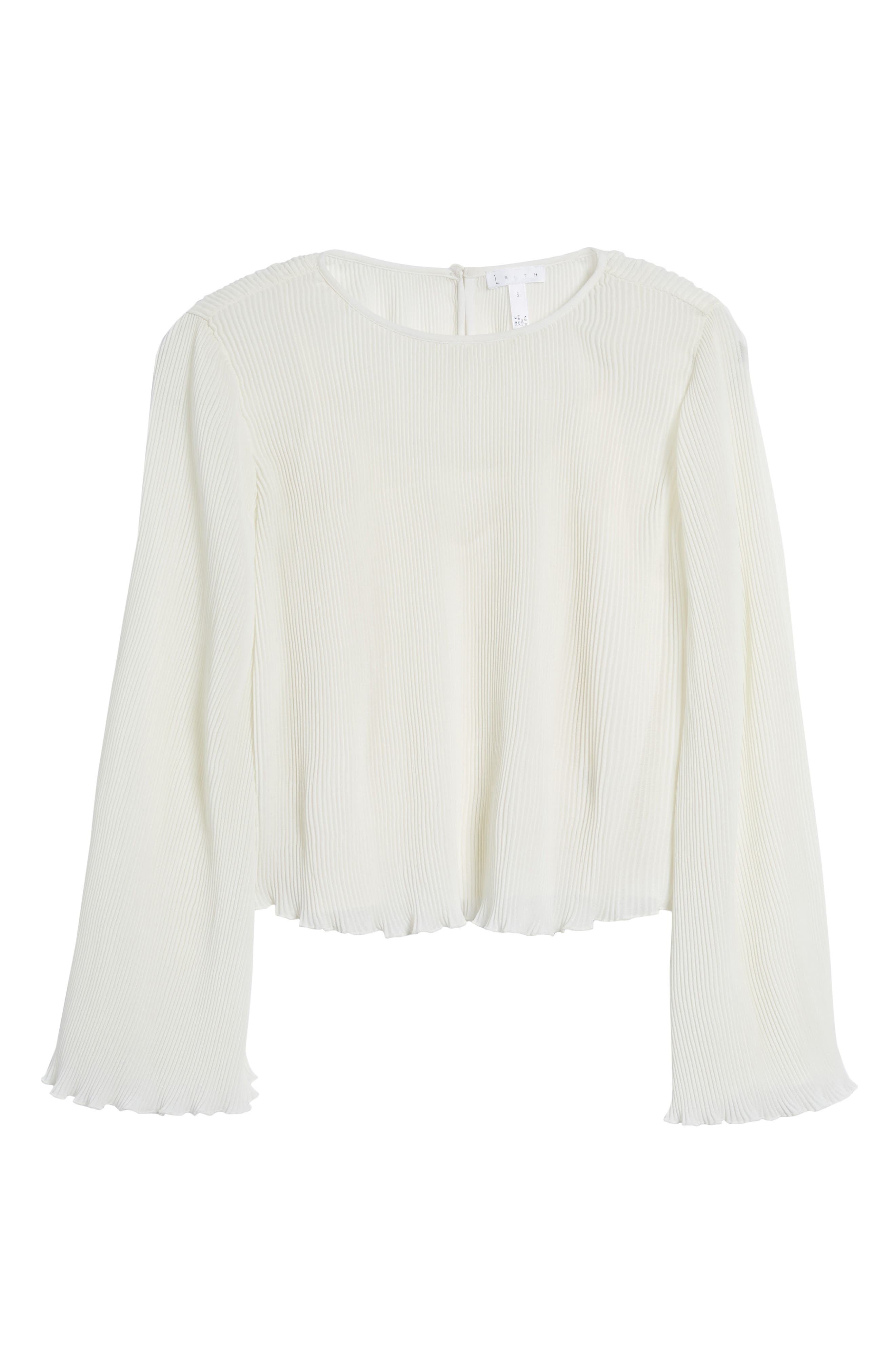 Pleated Bell Sleeve Top,                             Alternate thumbnail 6, color,                             Ivory