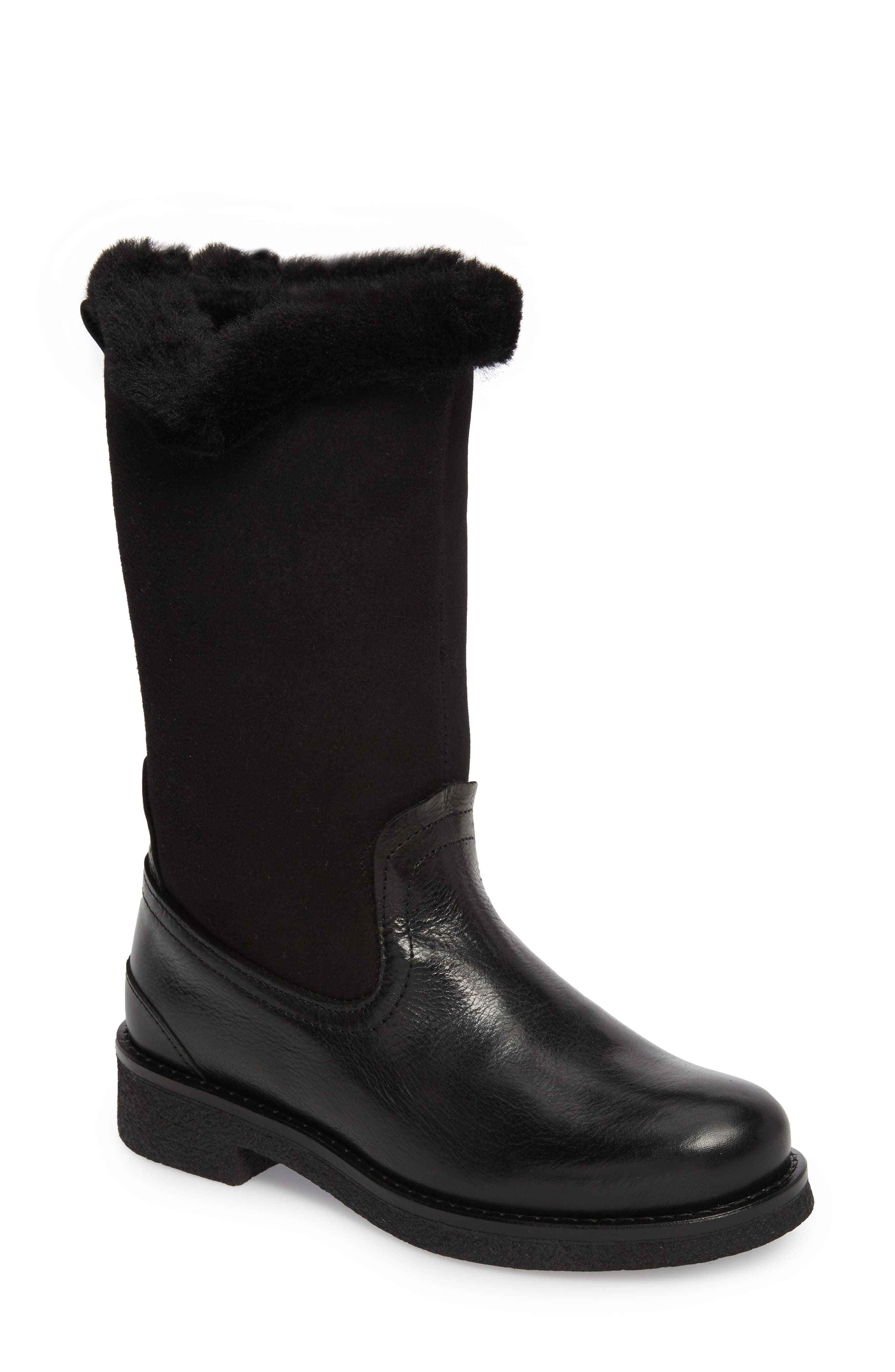 Amarillo Waterproof Insulated Snow Boot,                             Main thumbnail 1, color,                             Black Fur Leather