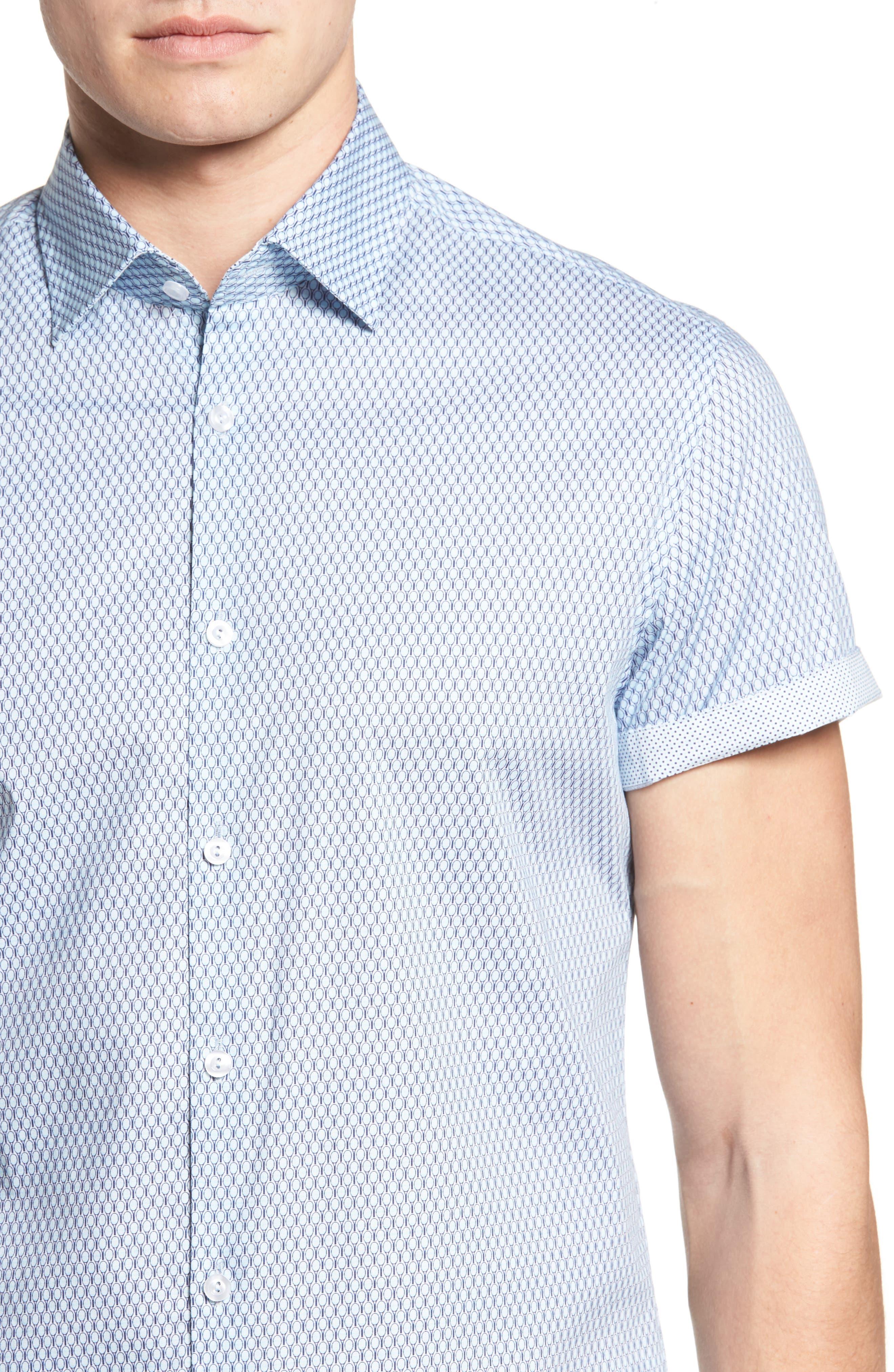 Slim Fit Tennis Racquet Print Sport Shirt,                             Alternate thumbnail 4, color,                             Blue