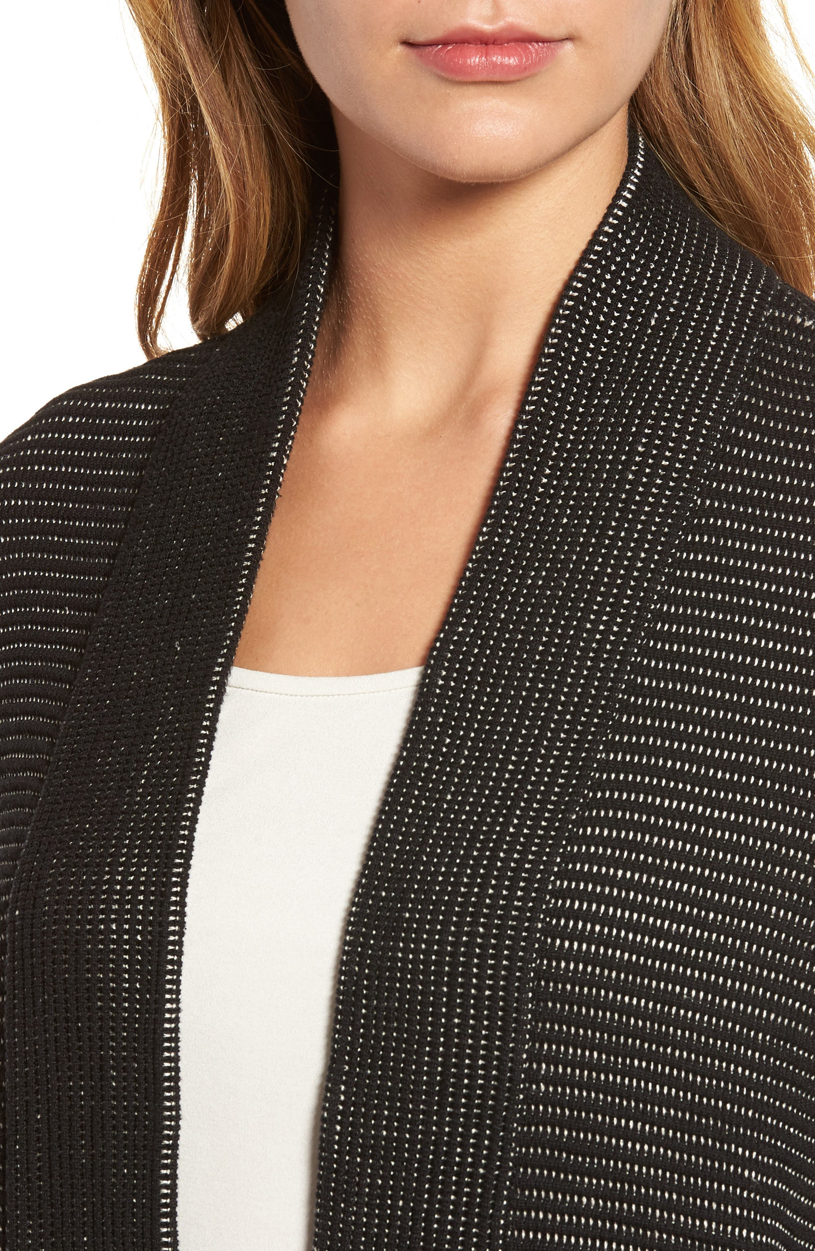 Silk Blend Ottoman Knit Cardigan,                             Alternate thumbnail 4, color,                             Black Natural