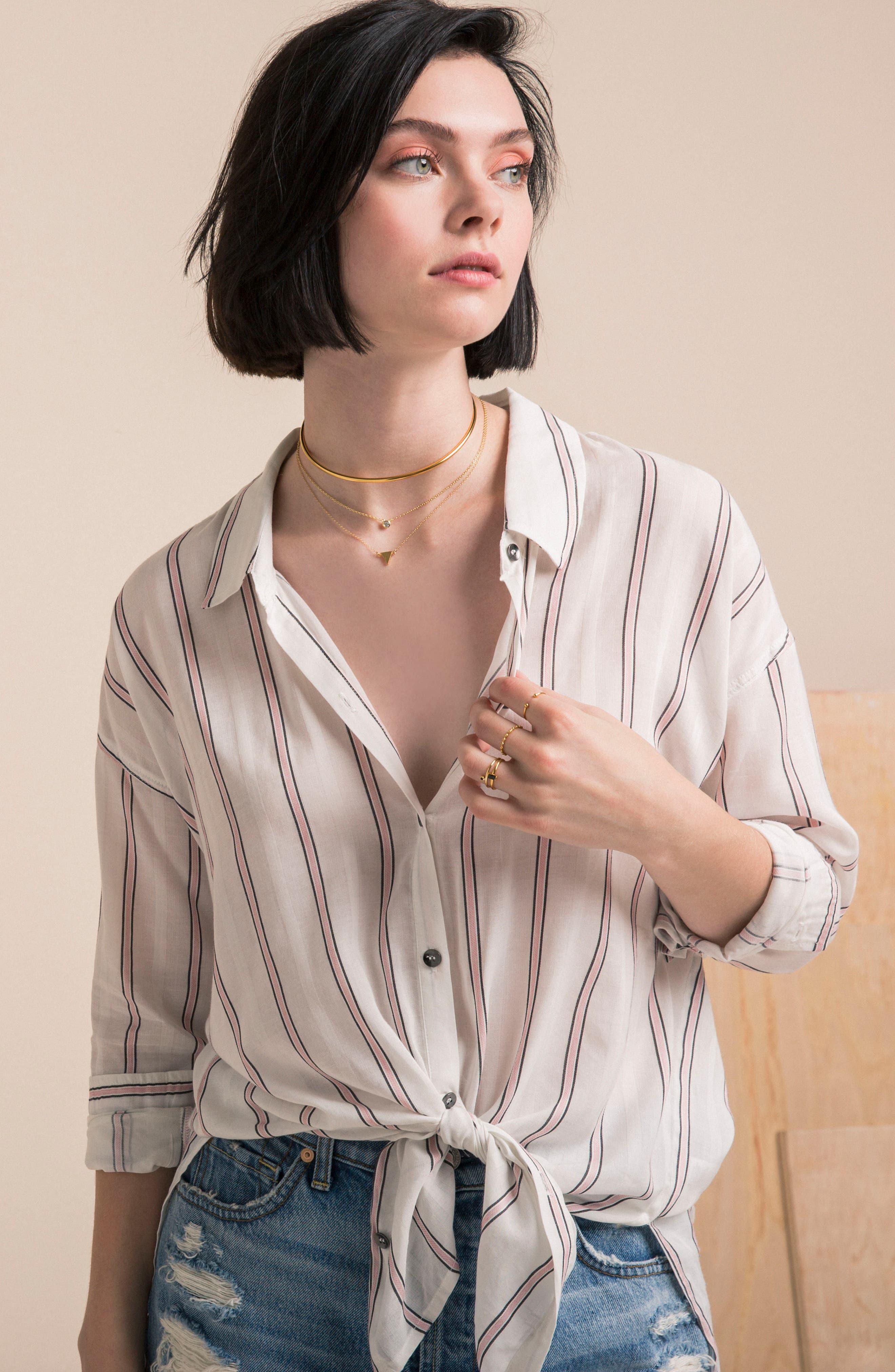 Stripe Woven Shirt,                             Alternate thumbnail 8, color,                             Off White
