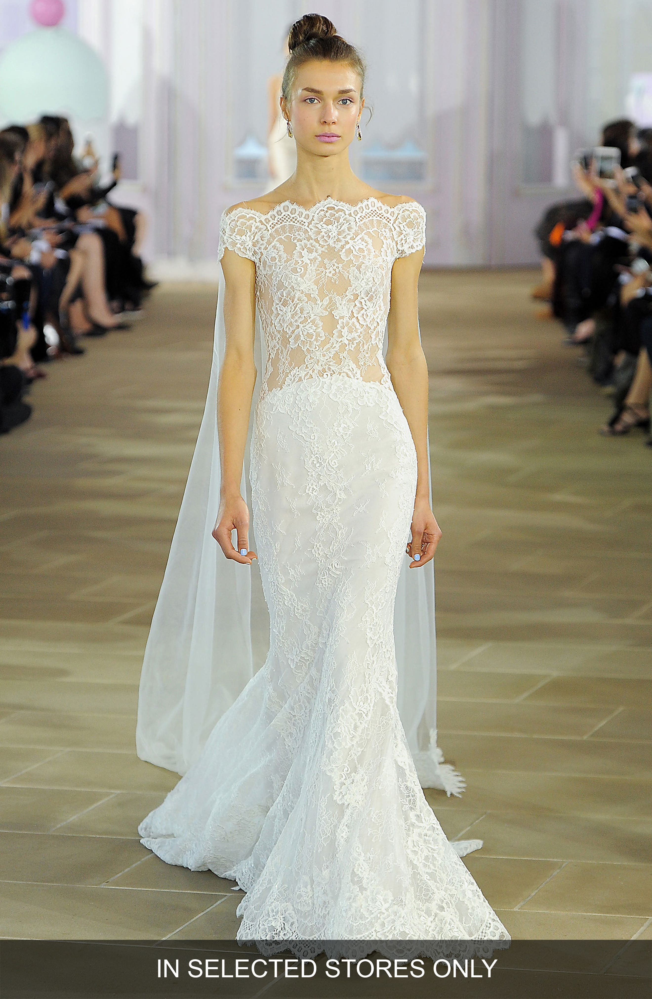 Ines di Santo Giselle Illusion Off the Shoulder Silk Lace Mermaid Gown