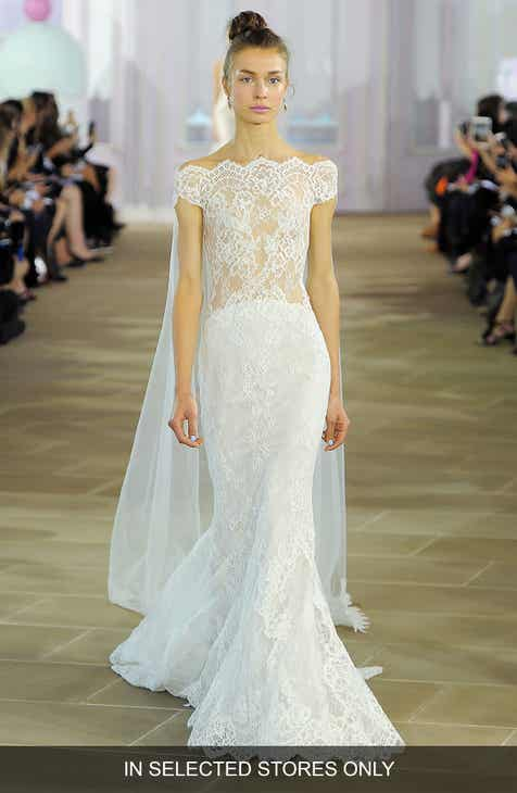 Ines Di Santo Gie Illusion Off The Shoulder Silk Lace Mermaid Gown