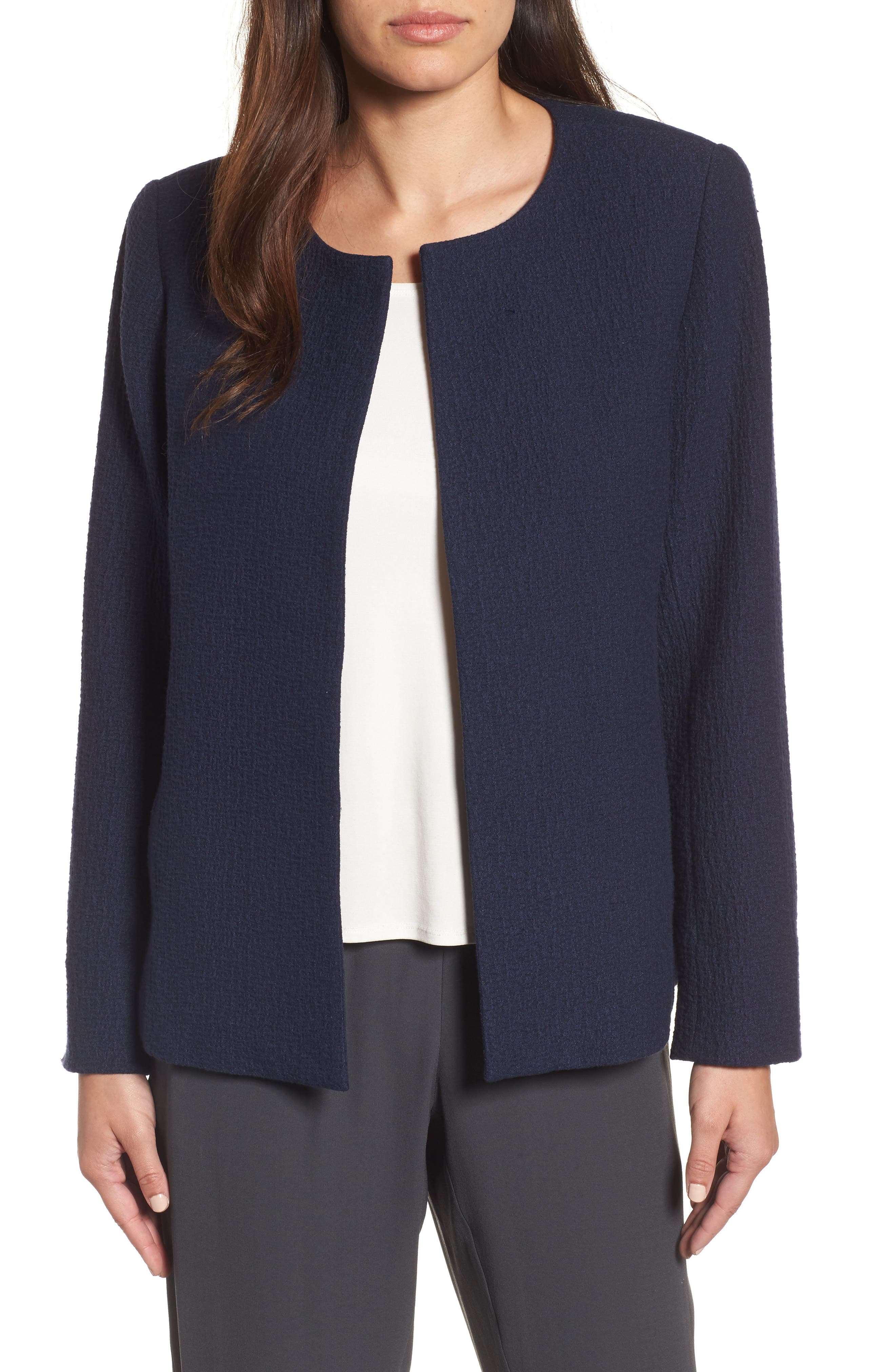 Alternate Image 1 Selected - Eileen Fisher Open Front Round Neck Jacket