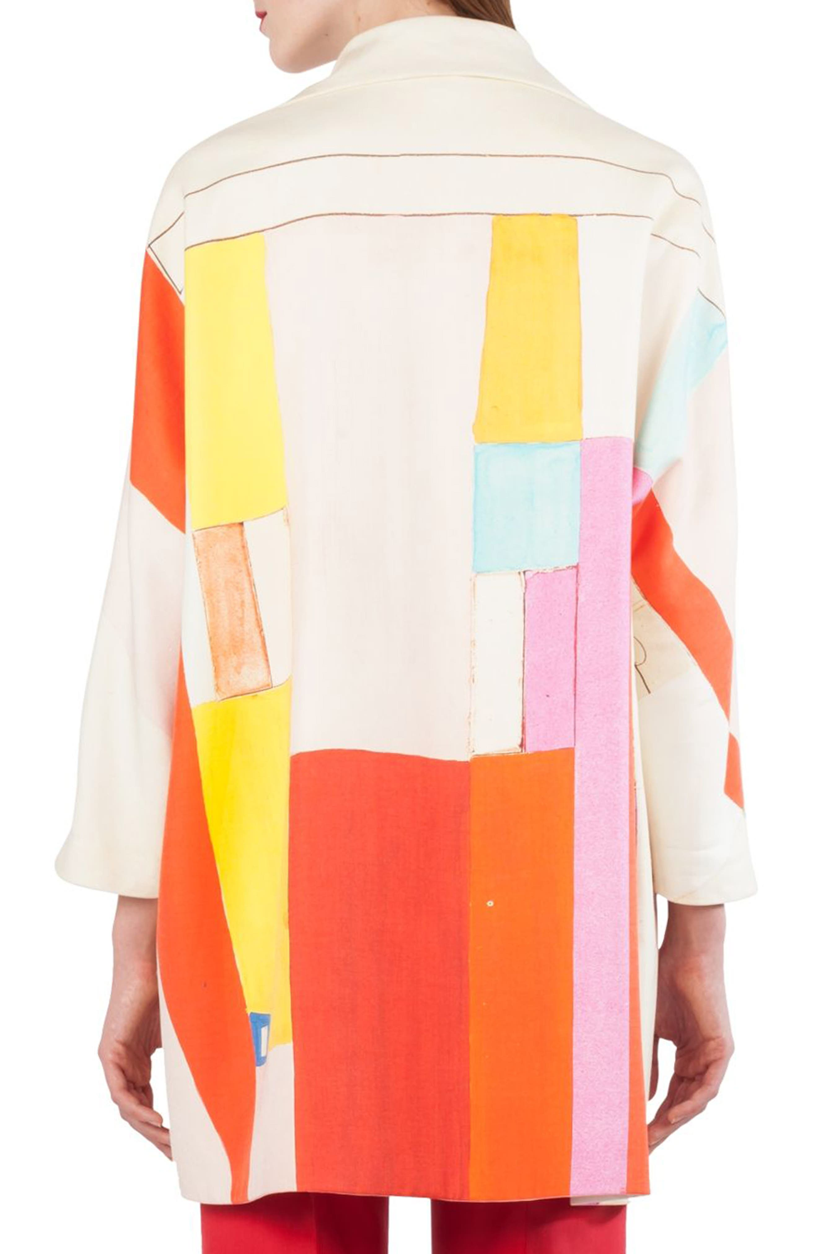 Mural Print Cotton & Silk Reversible Coat,                             Alternate thumbnail 4, color,                             Multicolor