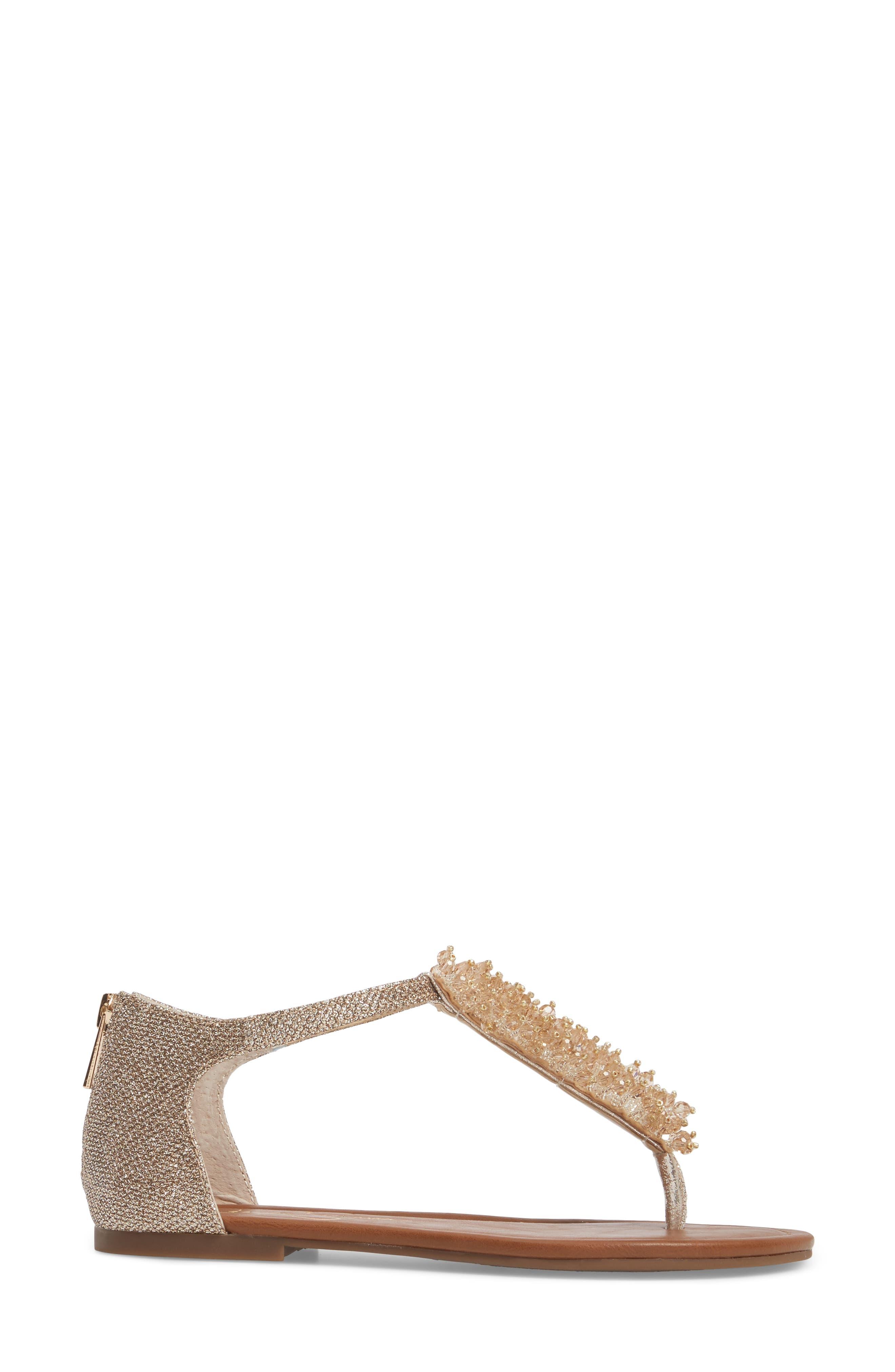 Kenton Crystal Embellished Sandal,                             Alternate thumbnail 3, color,                             Gold