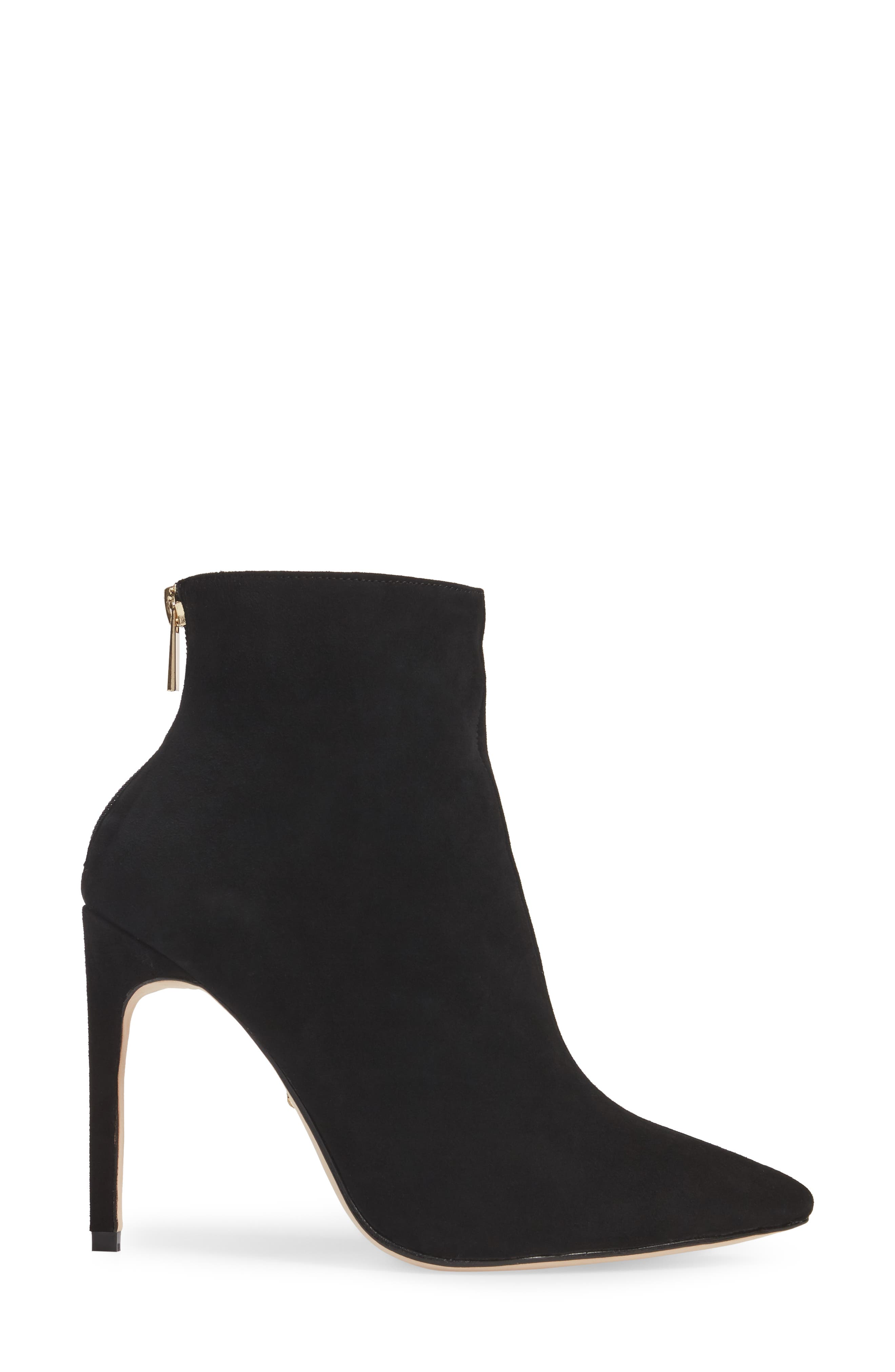 Tati Pointy Toe Bootie,                             Alternate thumbnail 3, color,                             Black Suede