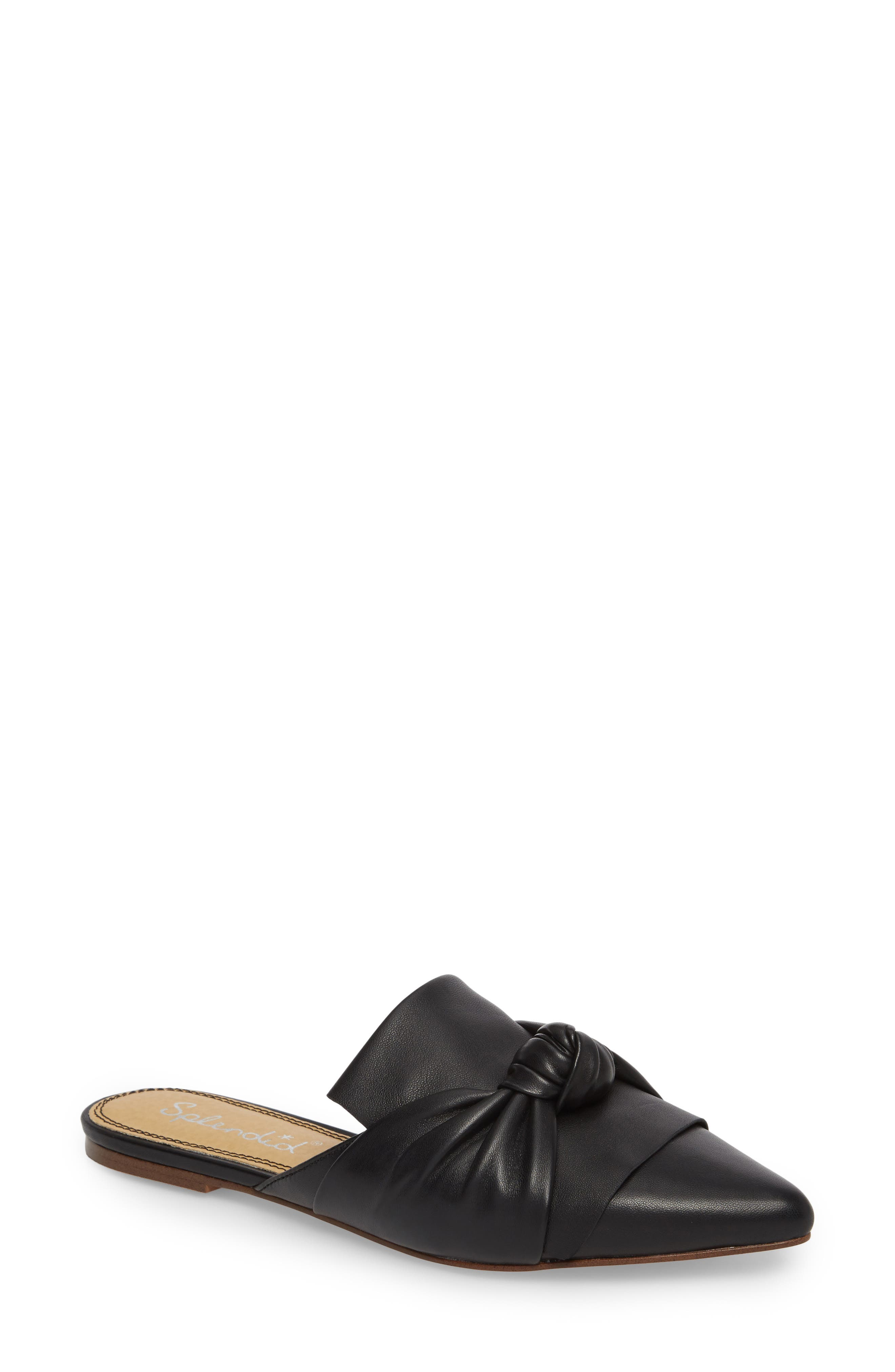 Bassett Knotted Pointy Toe Mule,                             Main thumbnail 1, color,                             Black Leather