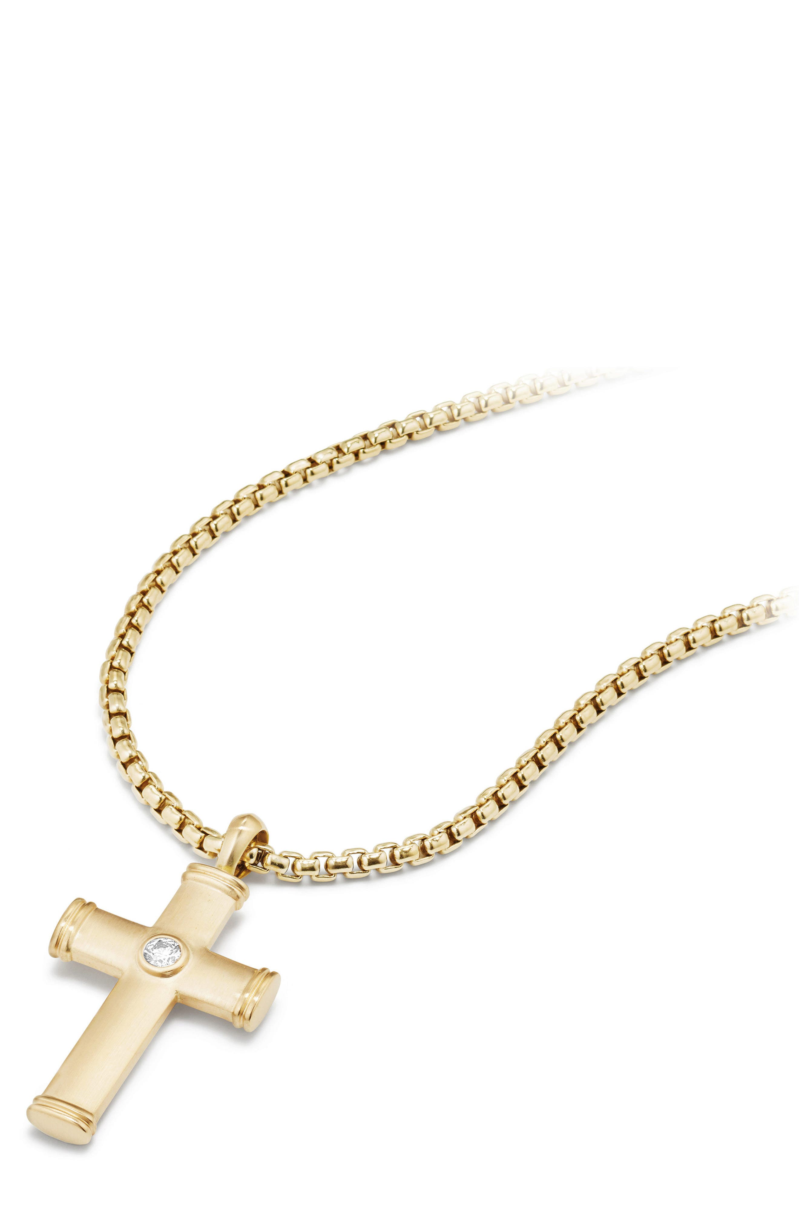 Streamline Cross Tag with Diamonds in 18K Gold,                             Alternate thumbnail 2, color,                             Gold/ Diamond