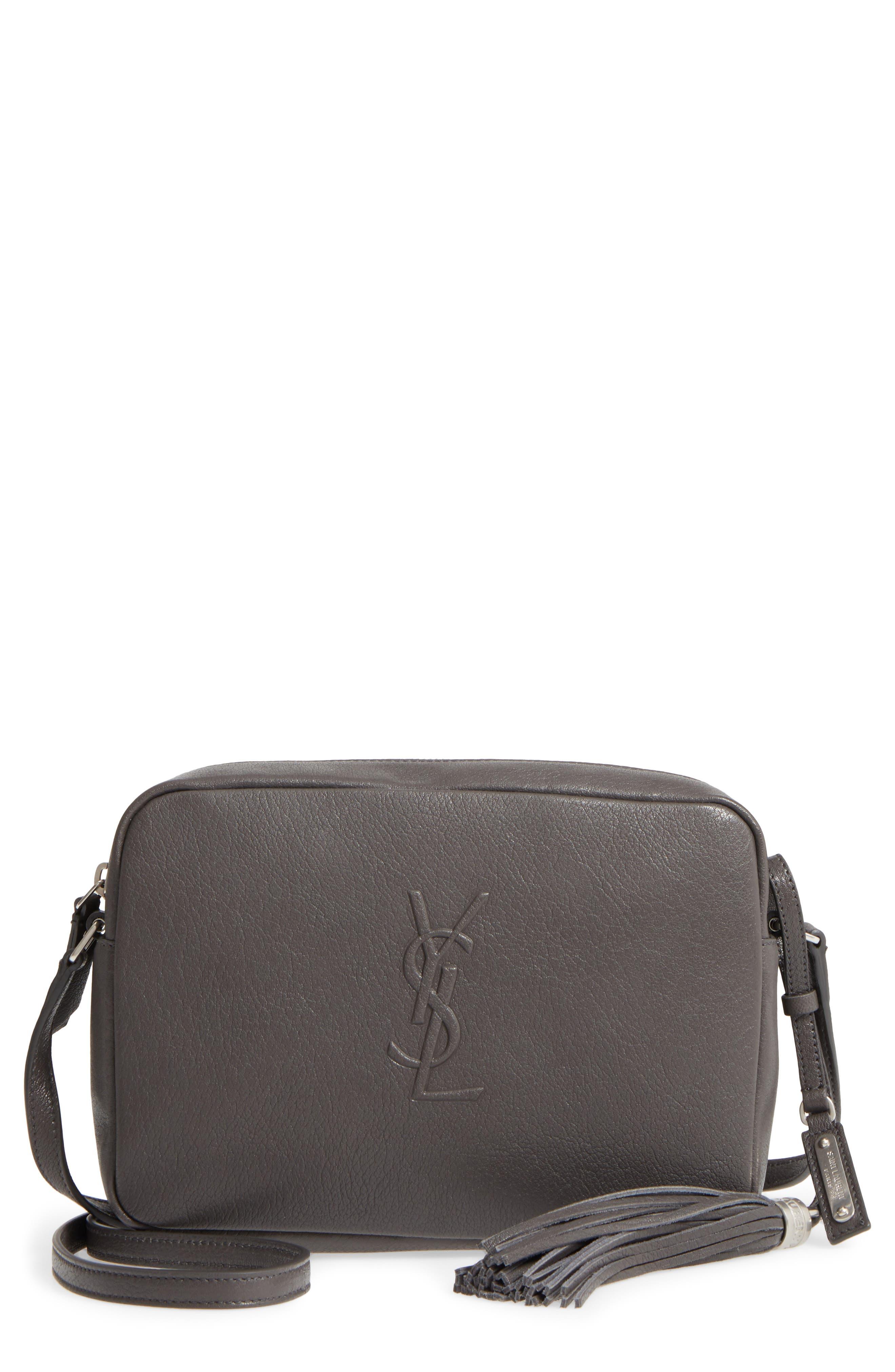 Small Mono Leather Camera Bag,                             Main thumbnail 1, color,                             Asphalt