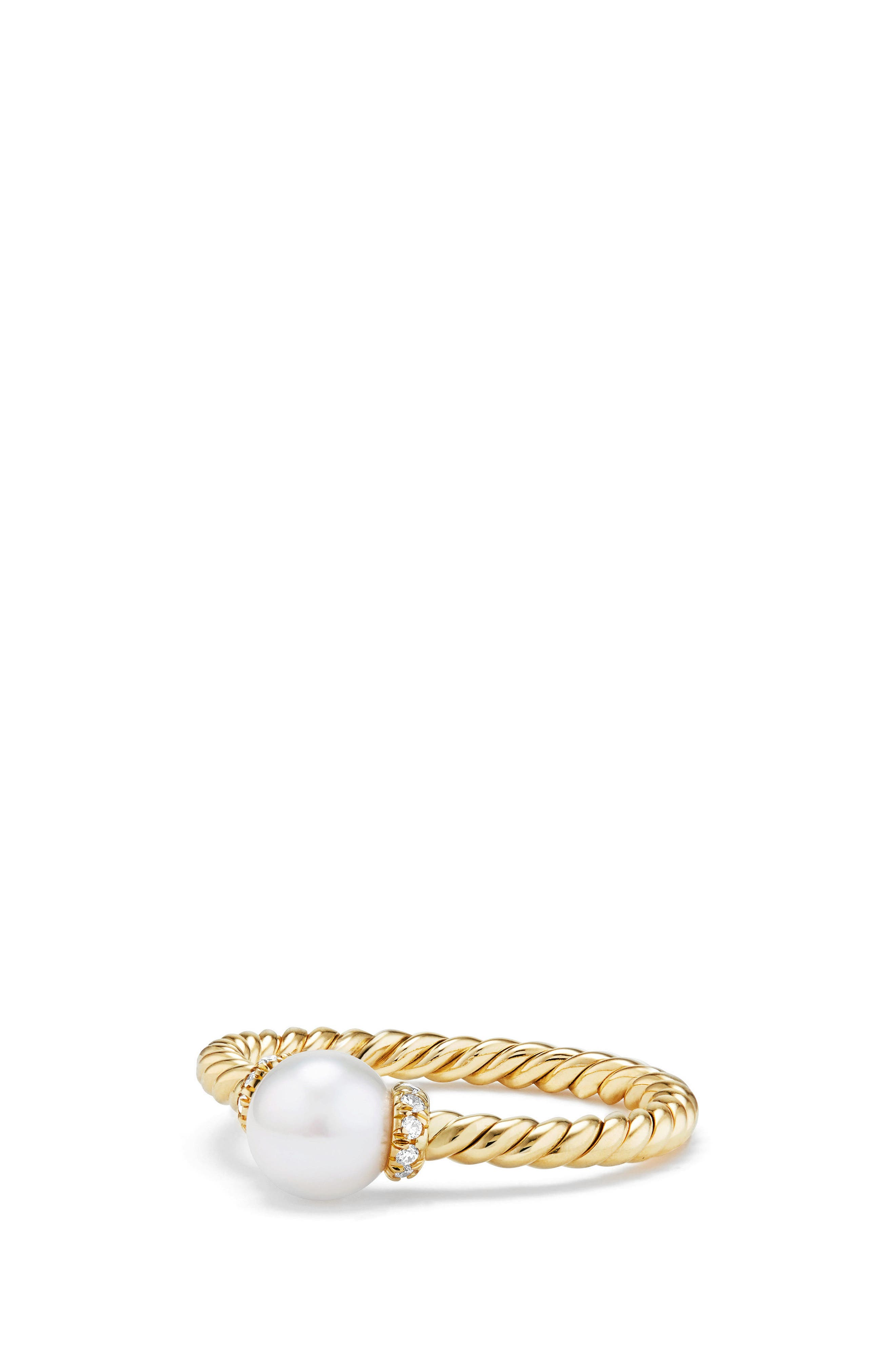 David Yurman Solari Station Ring with Pearl & Diamonds in 18K Gold