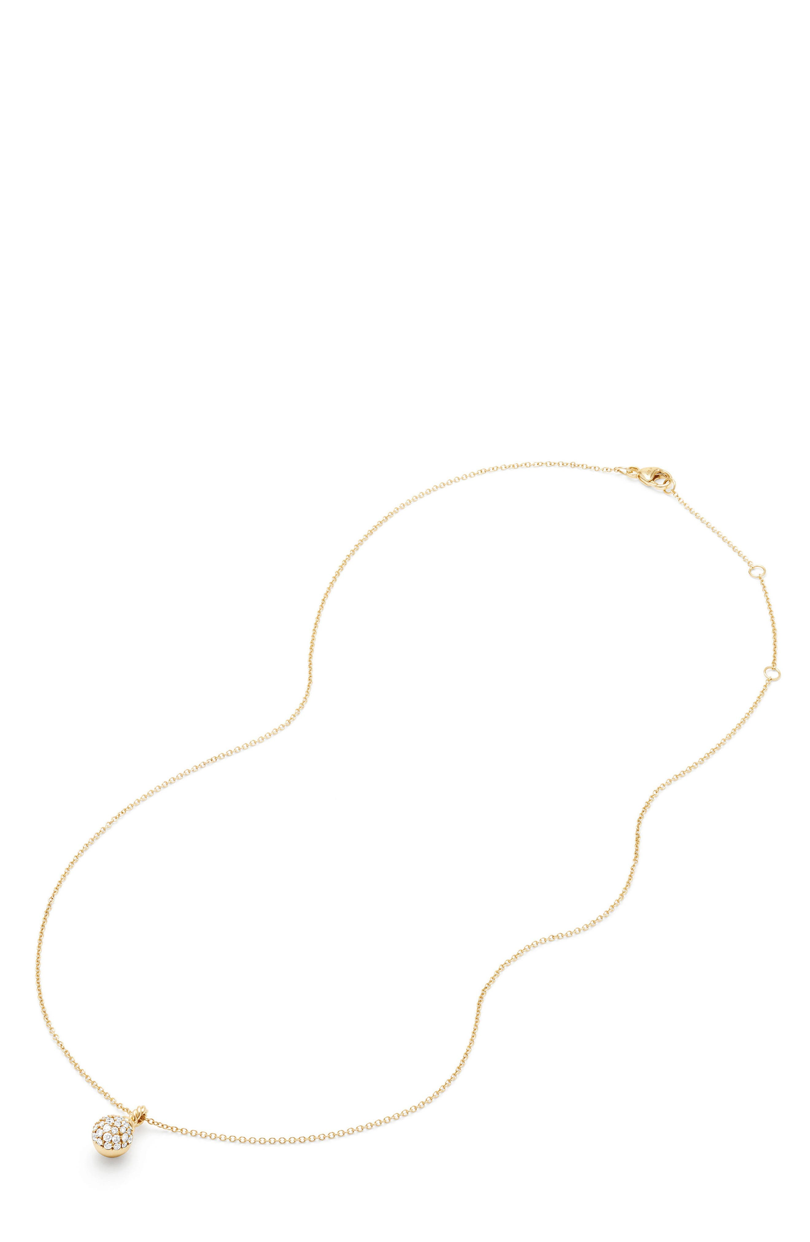 Petite Solari Pavé Necklace with Diamonds in 18K Gold,                             Alternate thumbnail 3, color,                             Yellow Gold/ Diamond