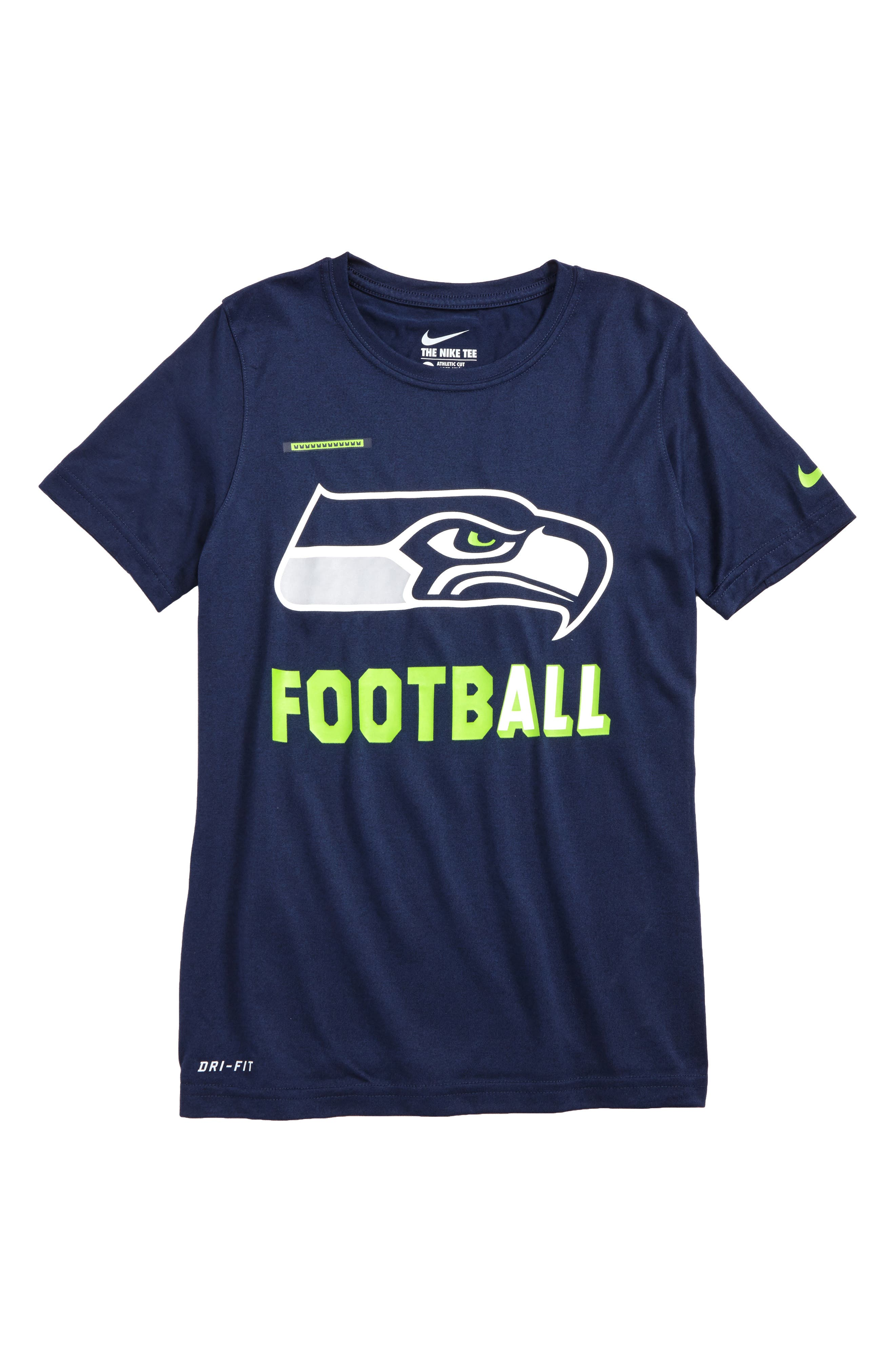 Nike NFL Logo - Seattle Seahawks Dry T-Shirt,                             Main thumbnail 1, color,                             College Navy