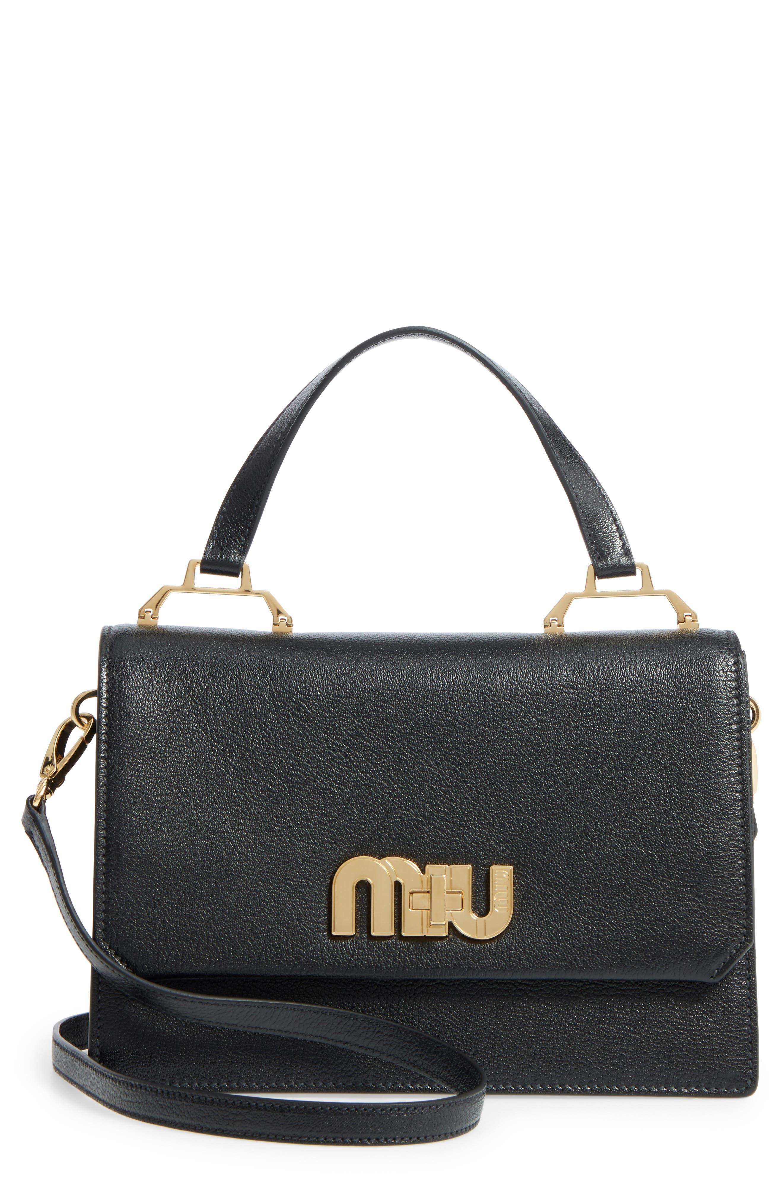 Miu Miu Medium Madras Logo Hardware Leather Satchel