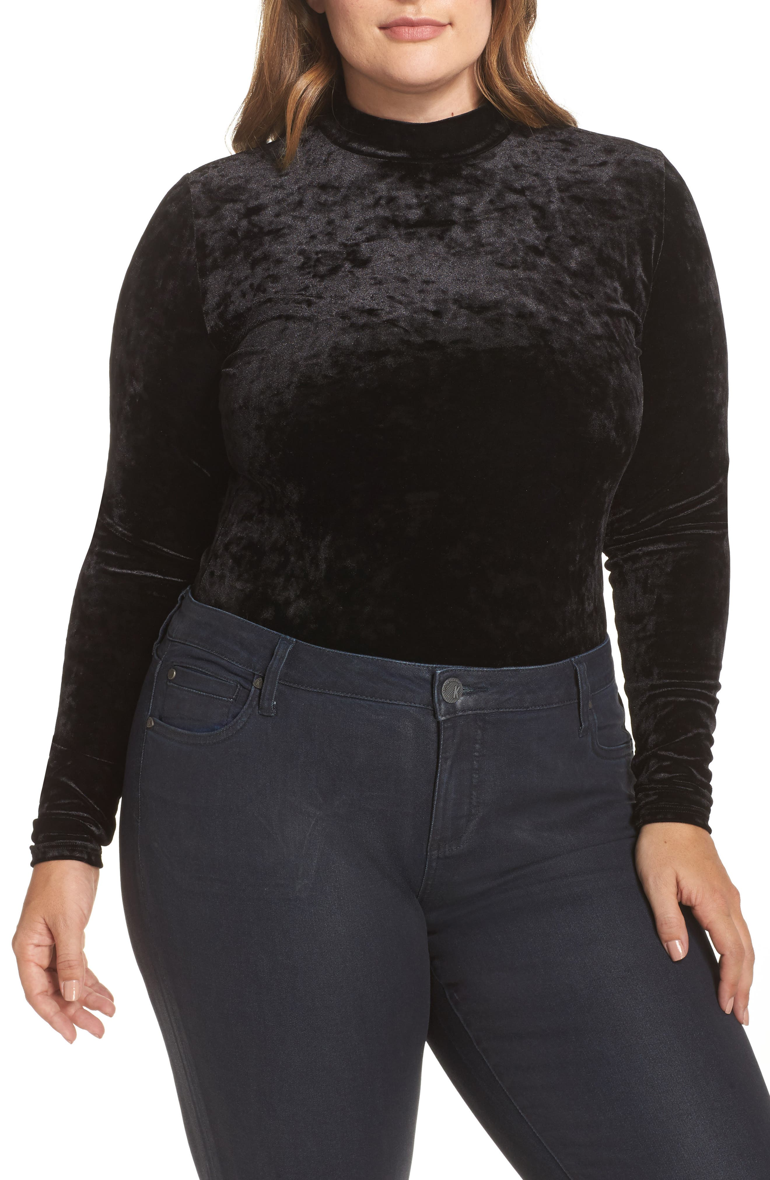 Velvet Thong Bodysuit,                             Alternate thumbnail 4, color,                             Black