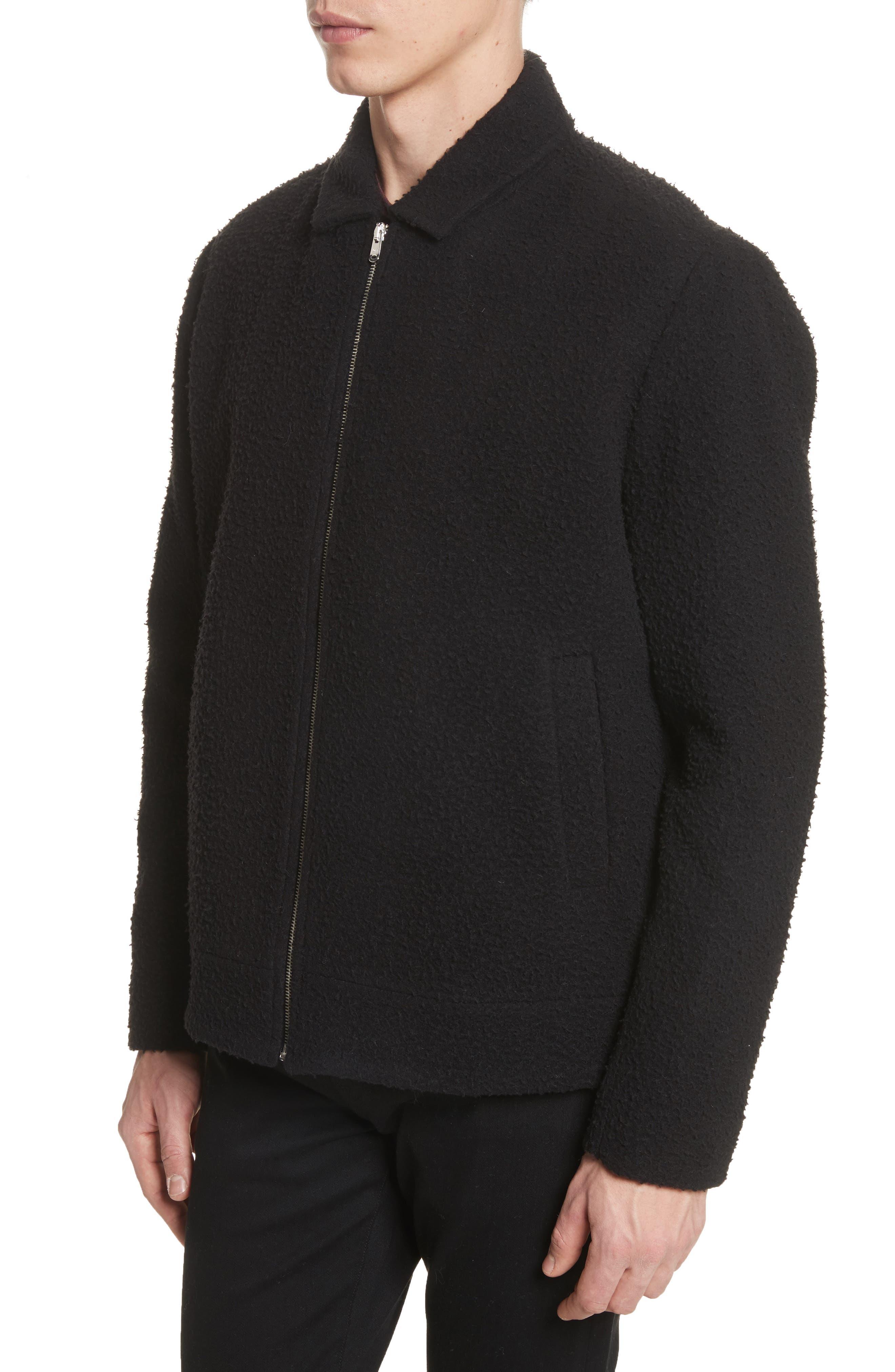 Elliott Boiled Wool Blend Jacket,                             Alternate thumbnail 4, color,                             Black