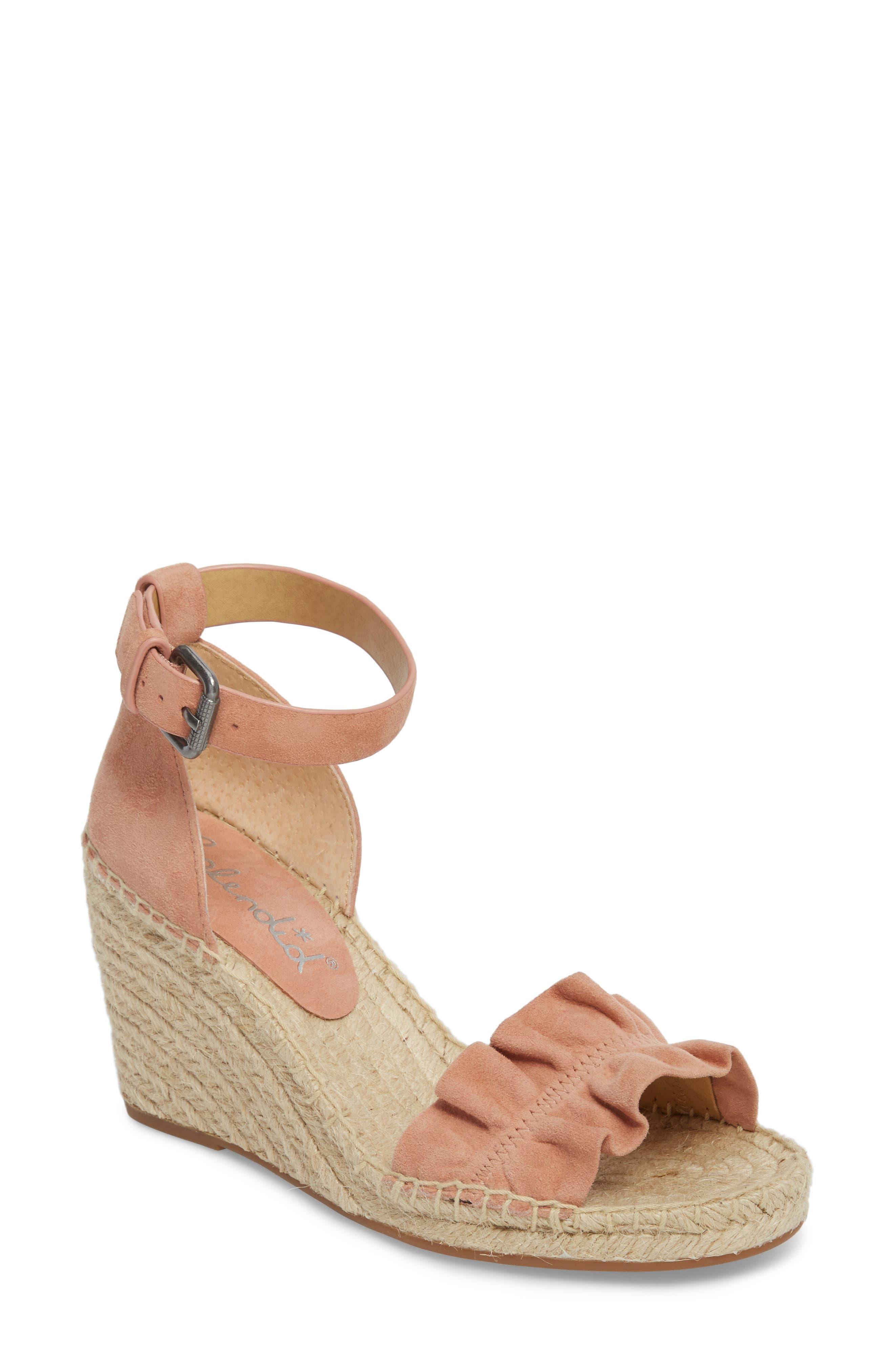 Bedford Espadrille Wedge Sandal,                             Main thumbnail 1, color,                             Dark Blush Suede