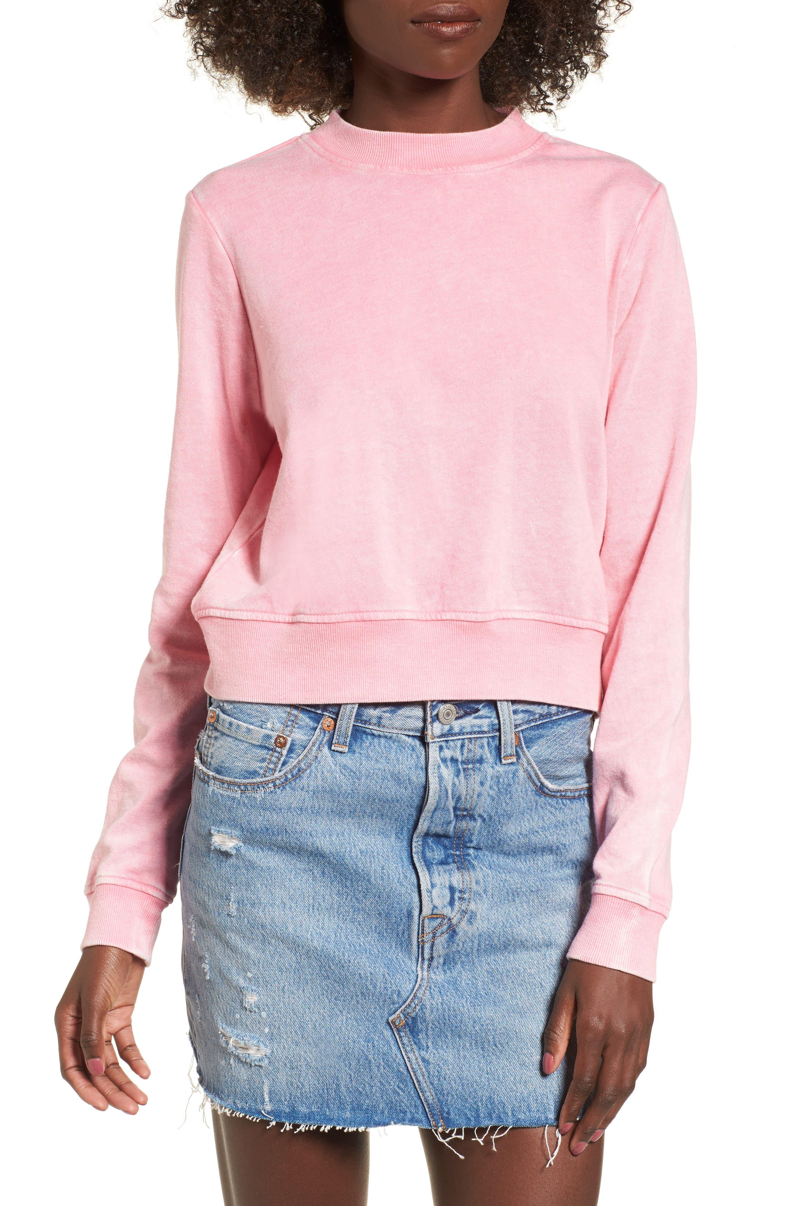 Washed Crop Sweatshirt,                         Main,                         color, Pink