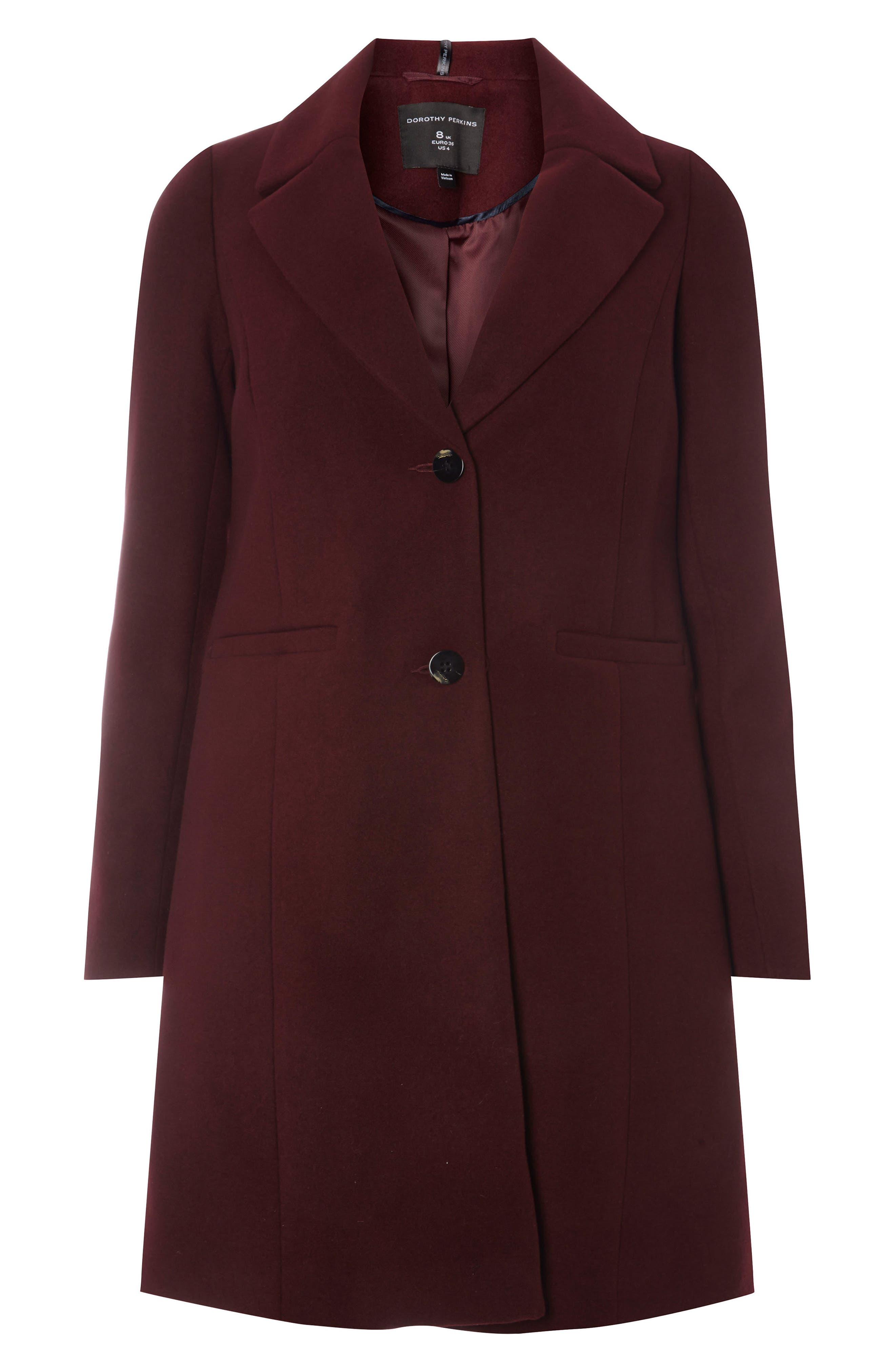 Single Breasted Coat,                             Alternate thumbnail 5, color,                             Berry Red