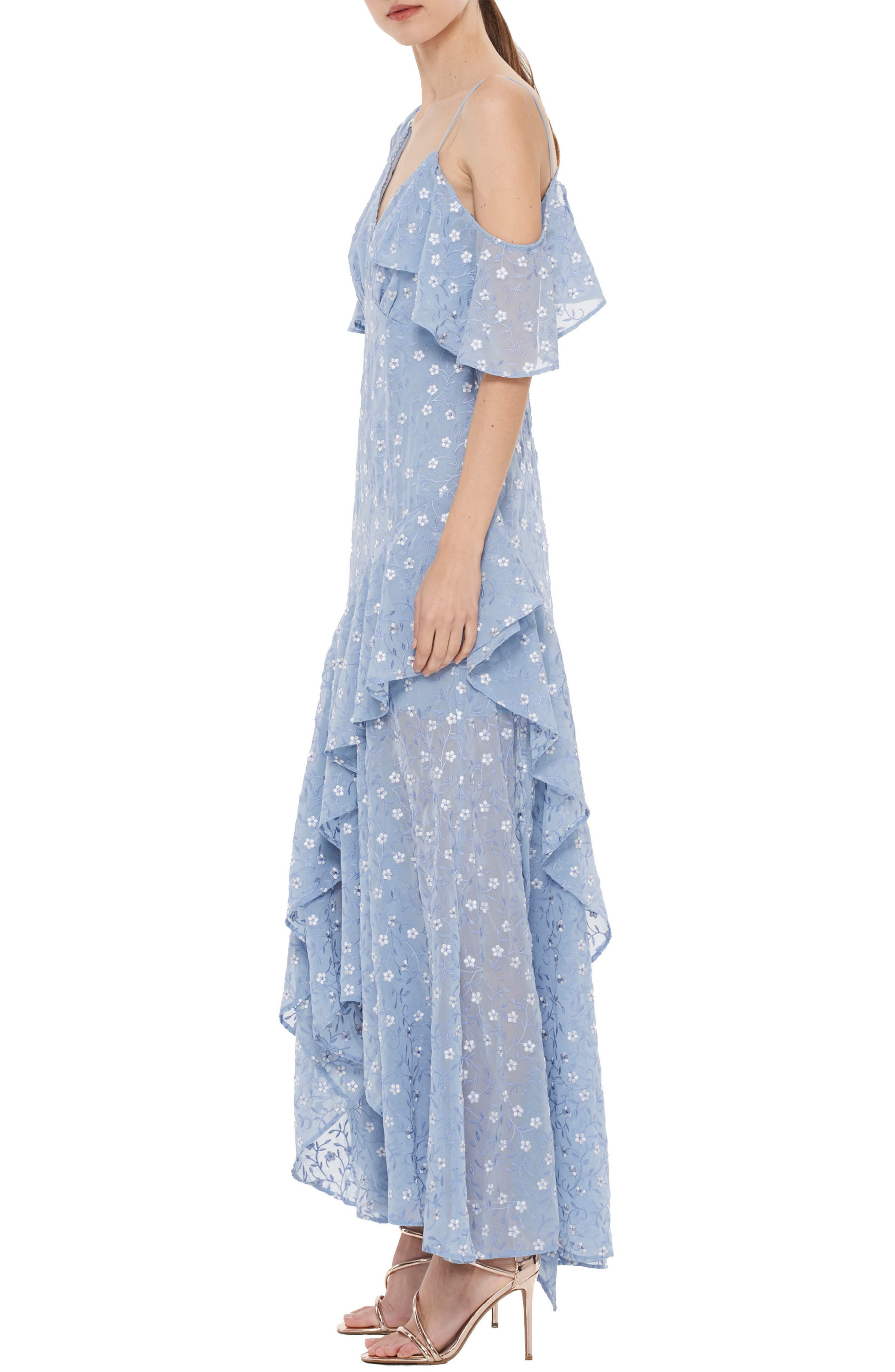 Ardency Asymmetrical Embroidered Gown,                             Alternate thumbnail 3, color,                             Powder Blue