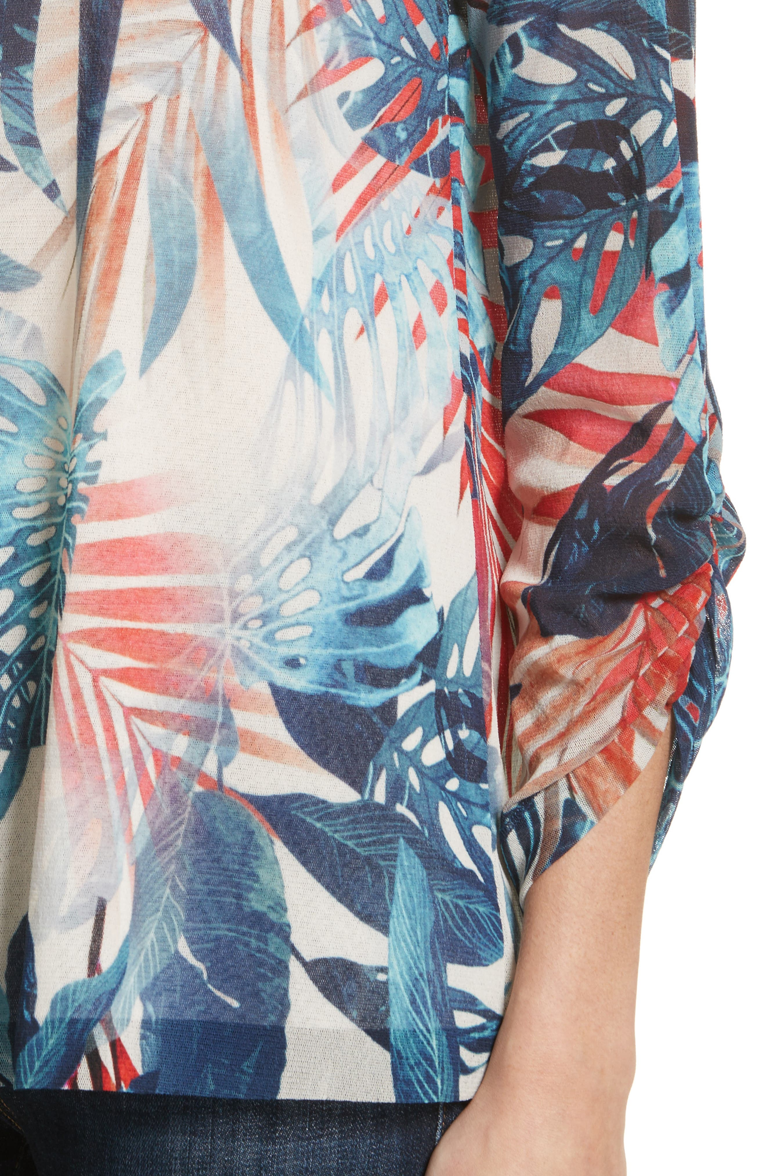 Foliage Print Long Sleeve Top,                             Alternate thumbnail 4, color,                             Zaffiro