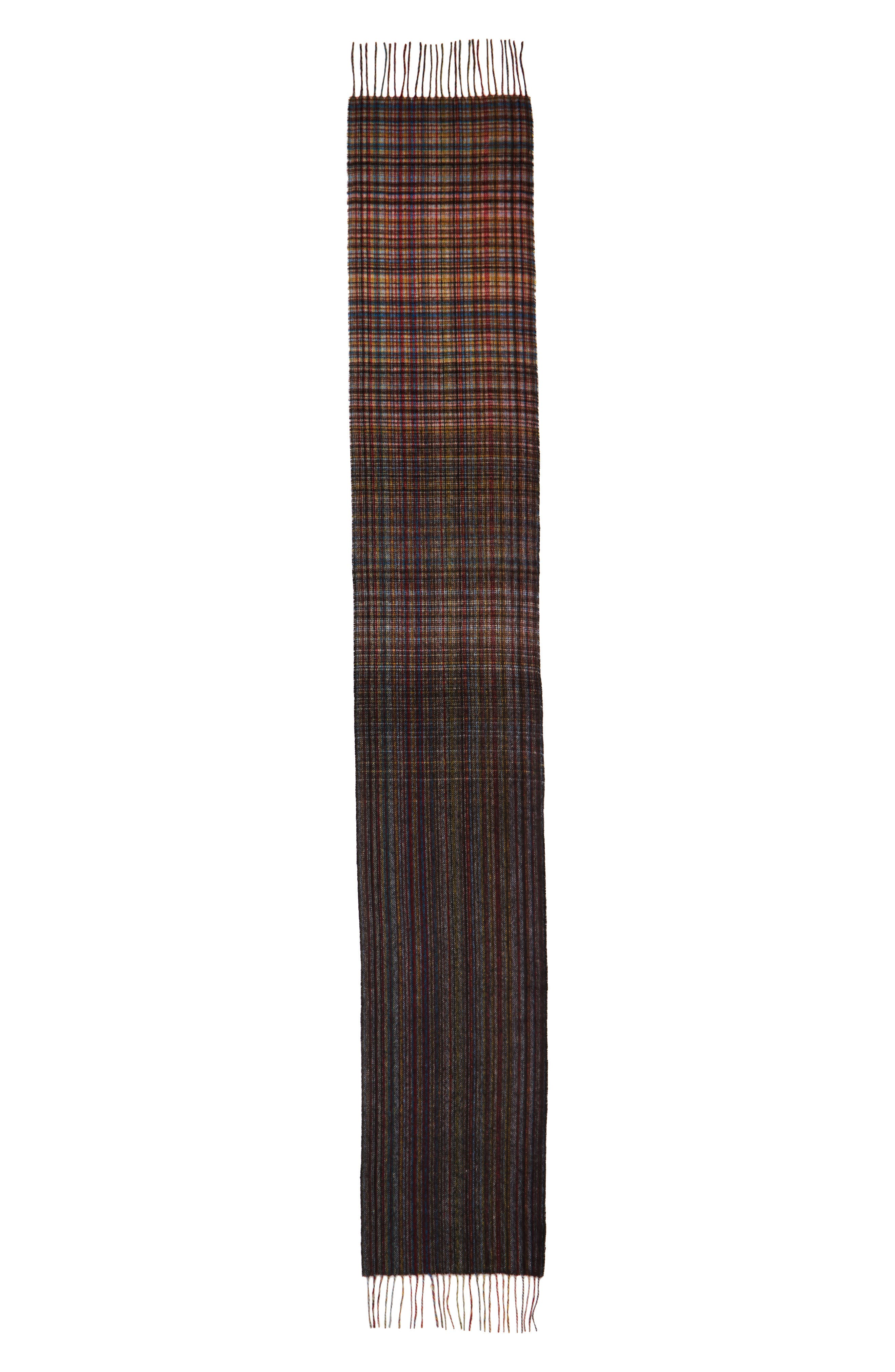 Multistripe Check Lambswool Scarf,                             Alternate thumbnail 2, color,                             Blue Multi